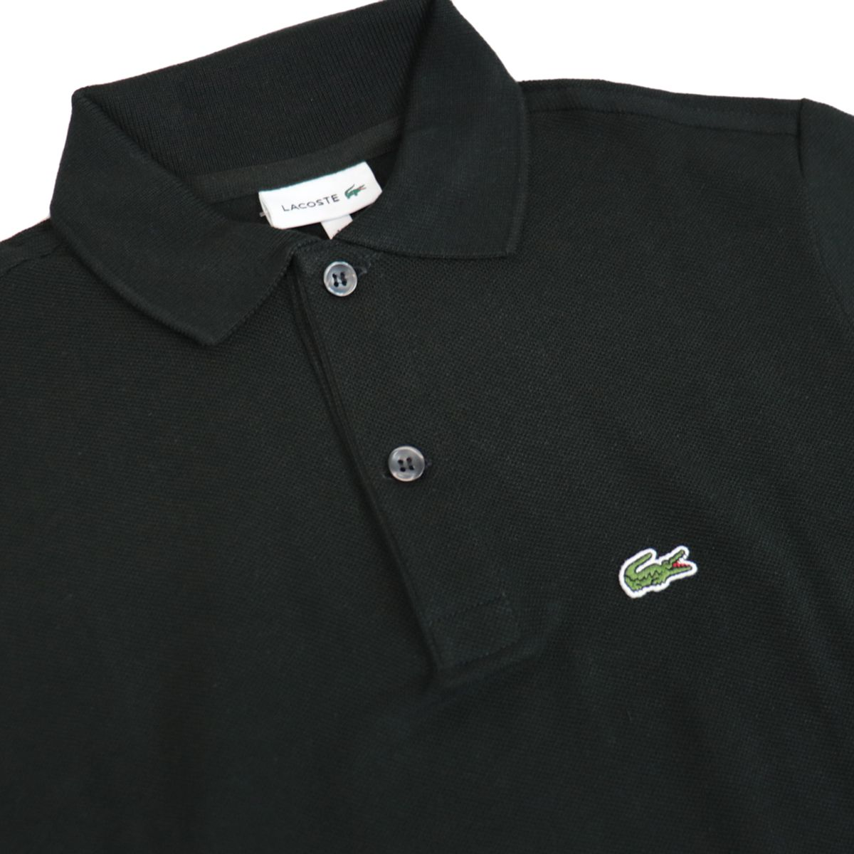 Cotton piqué polo shirt with 2 buttons with logo Black Lacoste