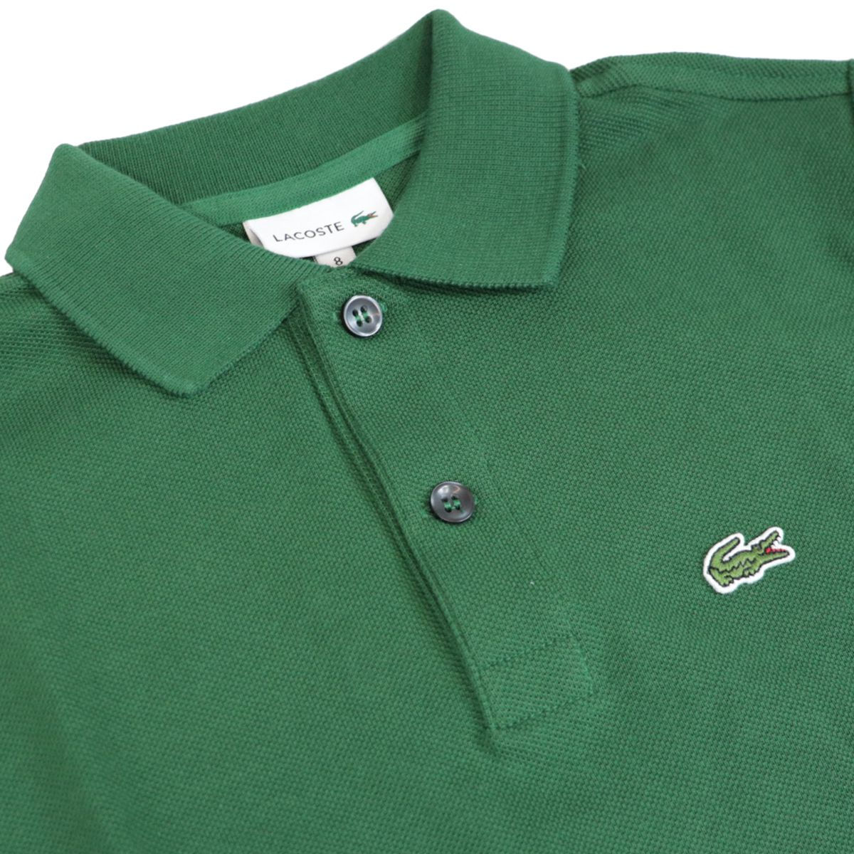 Cotton piqué polo shirt with 2 buttons with logo Green Lacoste