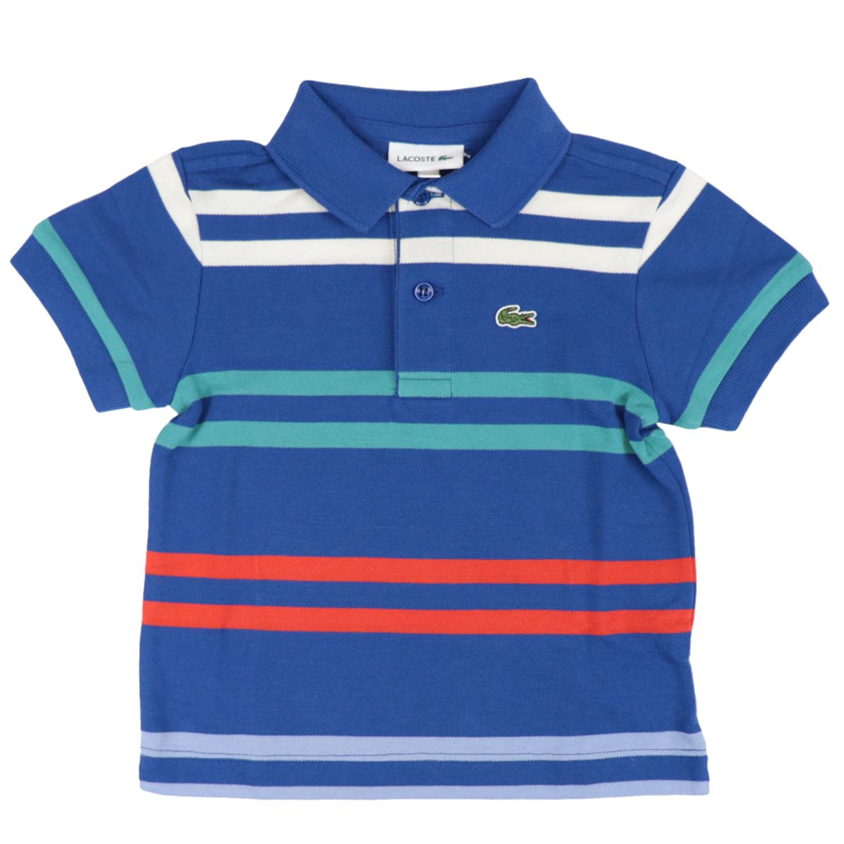 Cotton piqué polo shirt with striped pattern and logo Light blue Lacoste