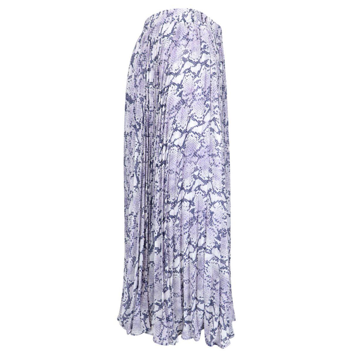 Pleated fabric skirt with python print Lavender Michael Kors