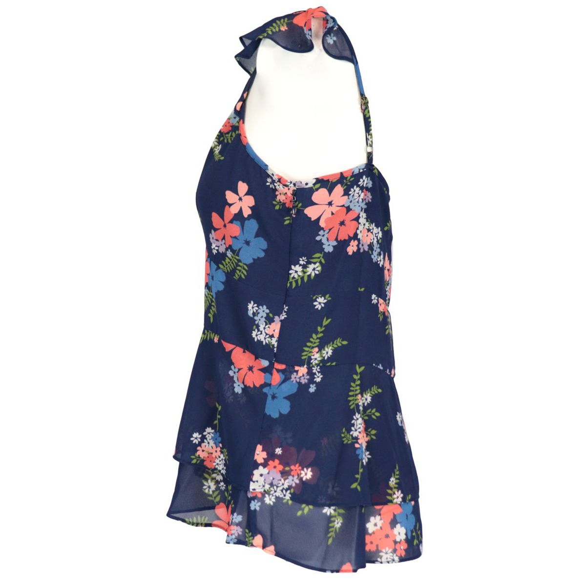 Top with floral print and thin straps with ruffles Coral Michael Kors
