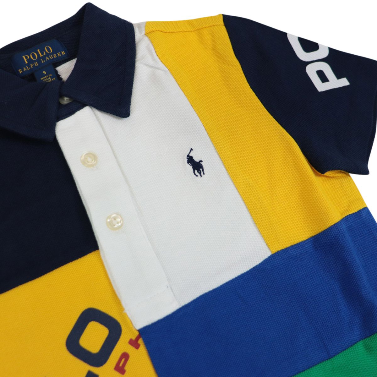 Multicolor three-button polo shirt with logo print White Polo Ralph Lauren