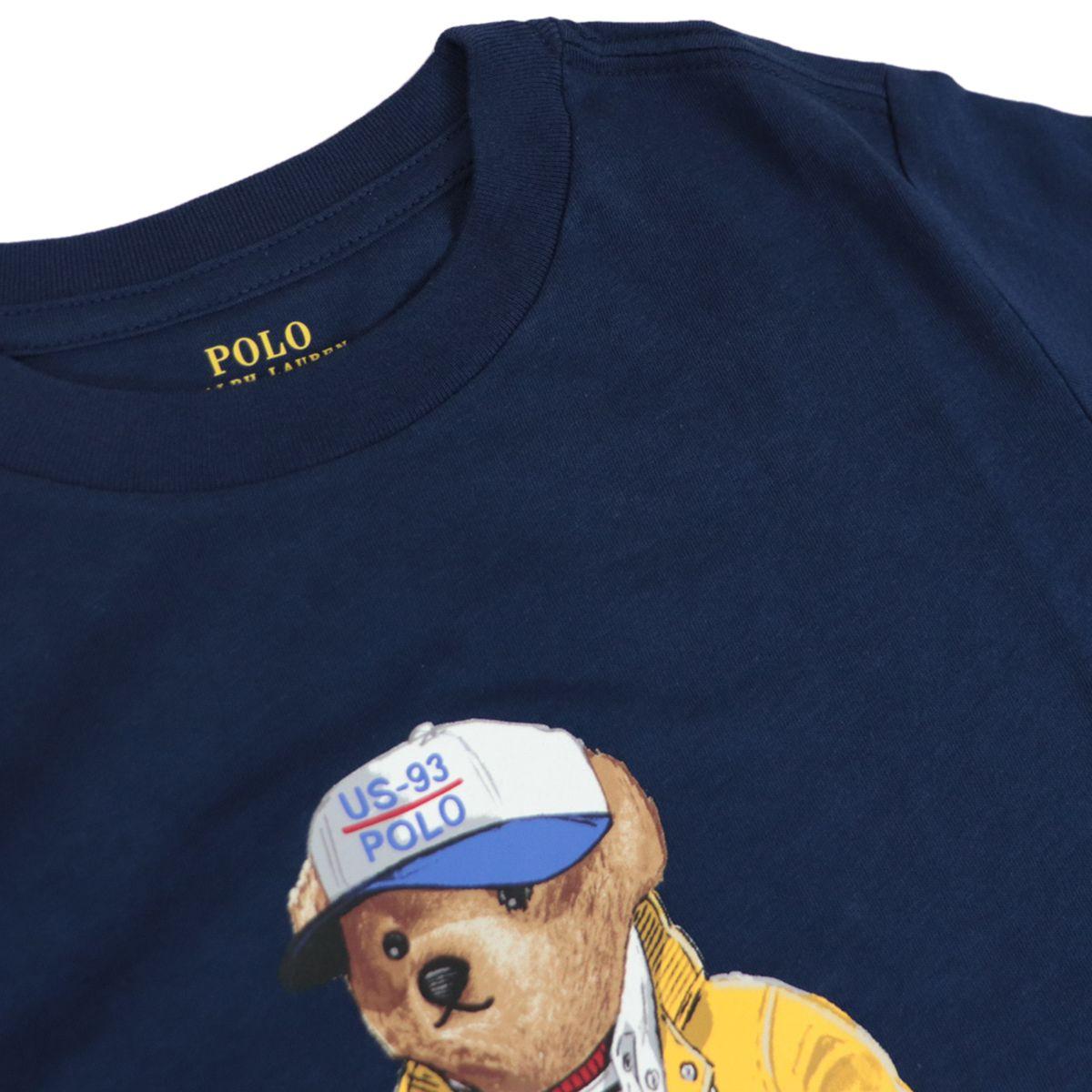 Crew-neck cotton T-shirt with contrasting bear print Navy Polo Ralph Lauren
