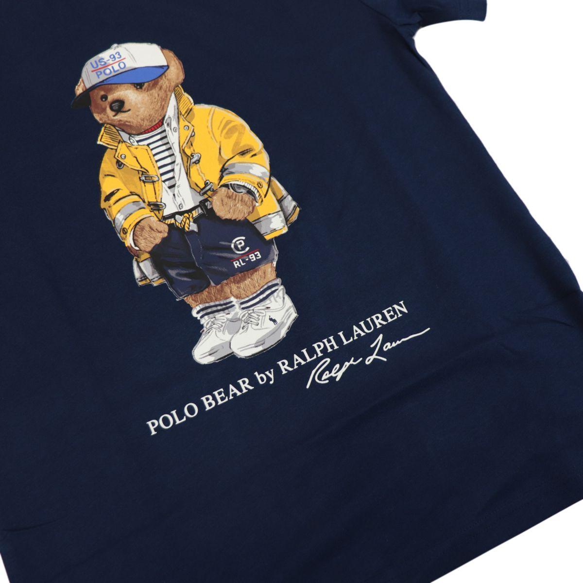 Short-sleeved cotton crew-neck t-shirt with bear print Navy Polo Ralph Lauren