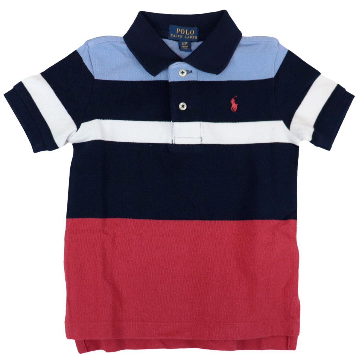 Multicolor striped cotton polo shirt with logo embroidery Navy Polo Ralph Lauren