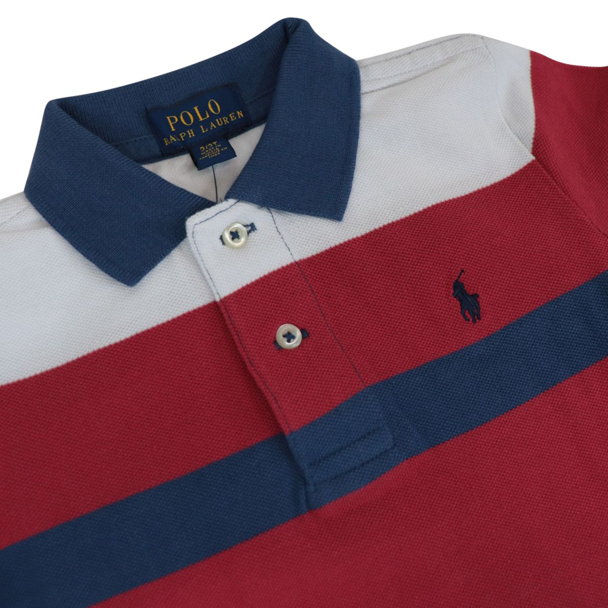 Multicolor striped cotton polo shirt with logo embroidery Red Polo Ralph Lauren
