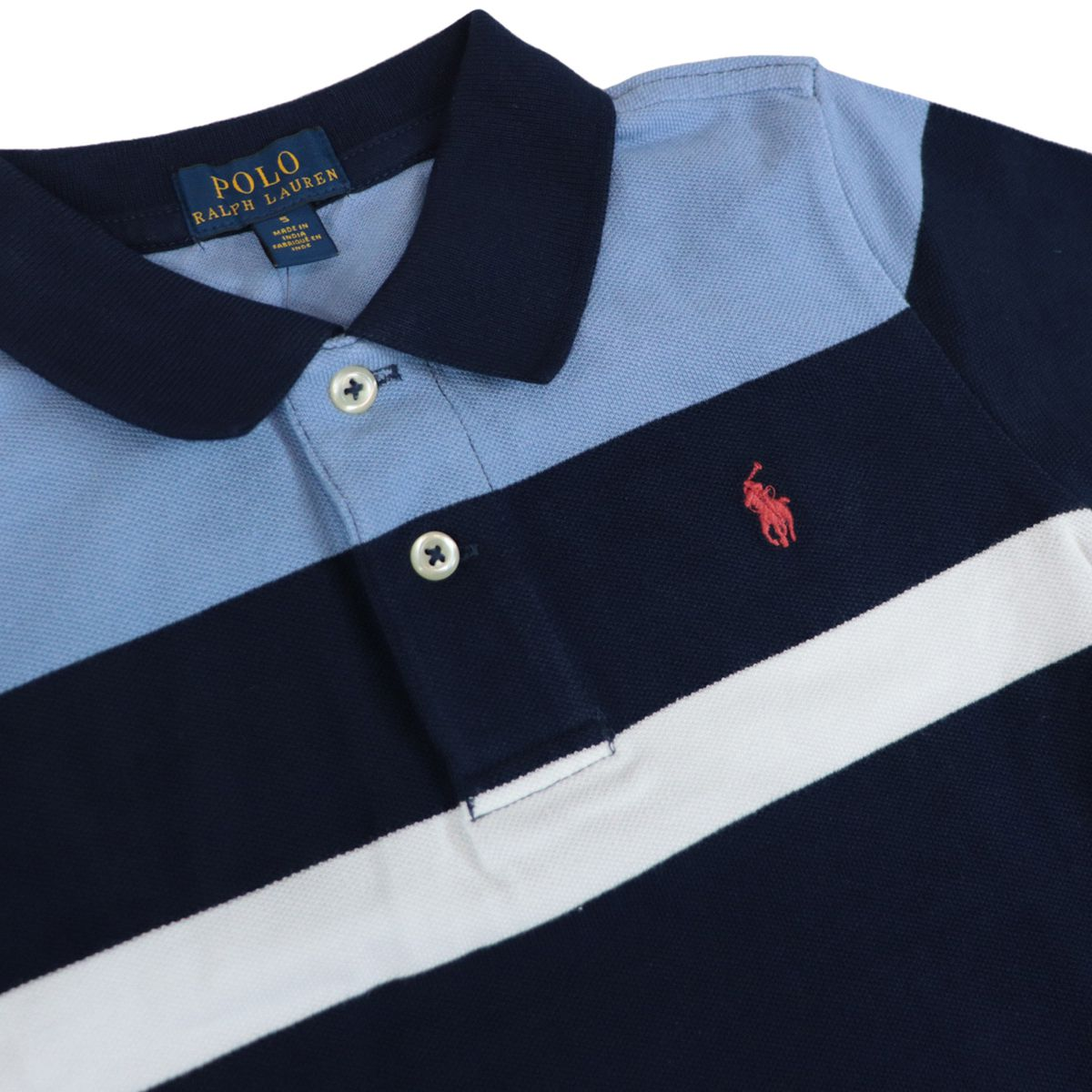 Multicolor striped cotton polo shirt with contrasting logo embroidery Navy Polo Ralph Lauren