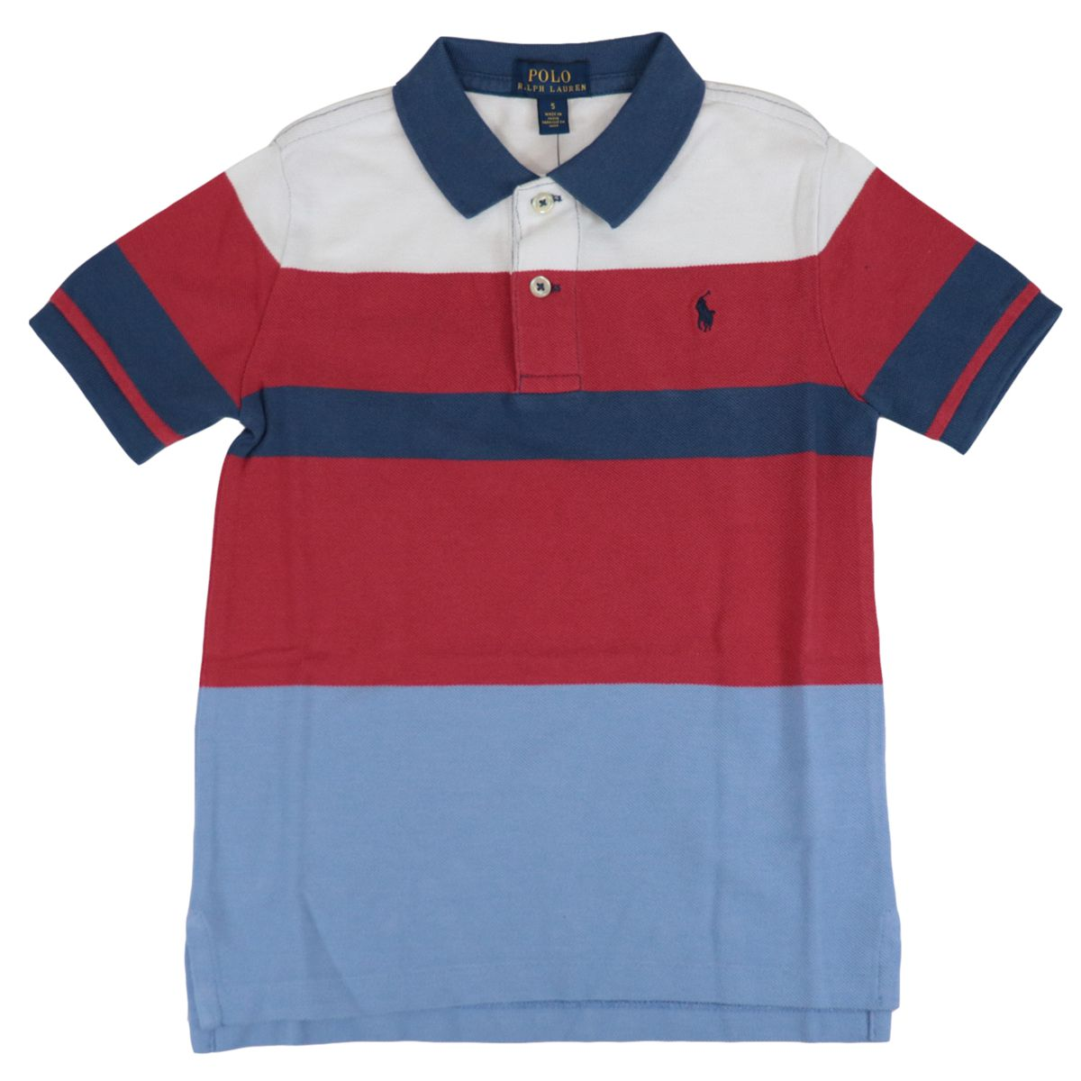 Multicolor striped cotton polo shirt with contrasting logo embroidery Red Polo Ralph Lauren
