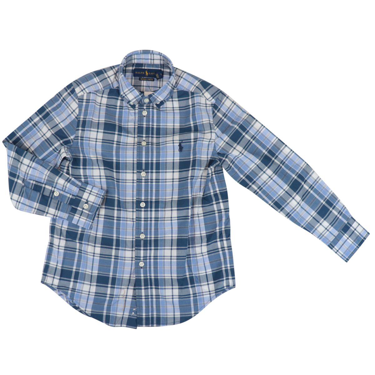 Botton down shirt in cotton with madras pattern Blue / white Polo Ralph Lauren