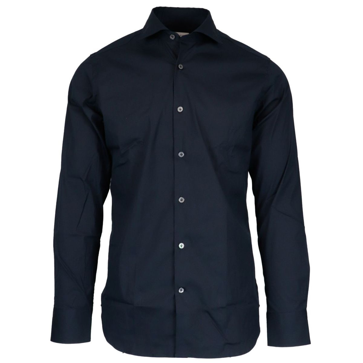 Regular-fit shirt in stretch cotton with French collar Blue Guglielminotti