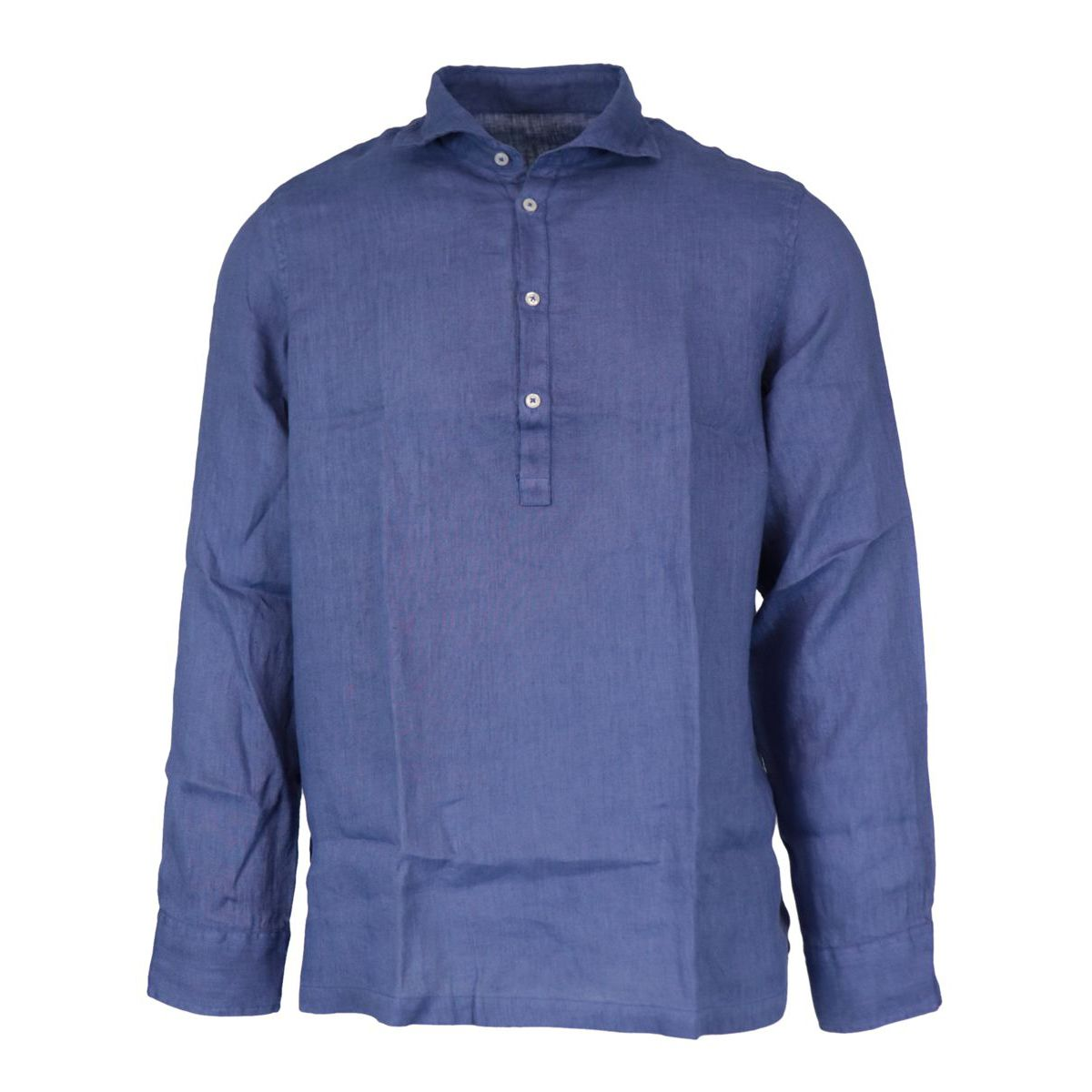 Slim 4-button linen shirt Blue Altea