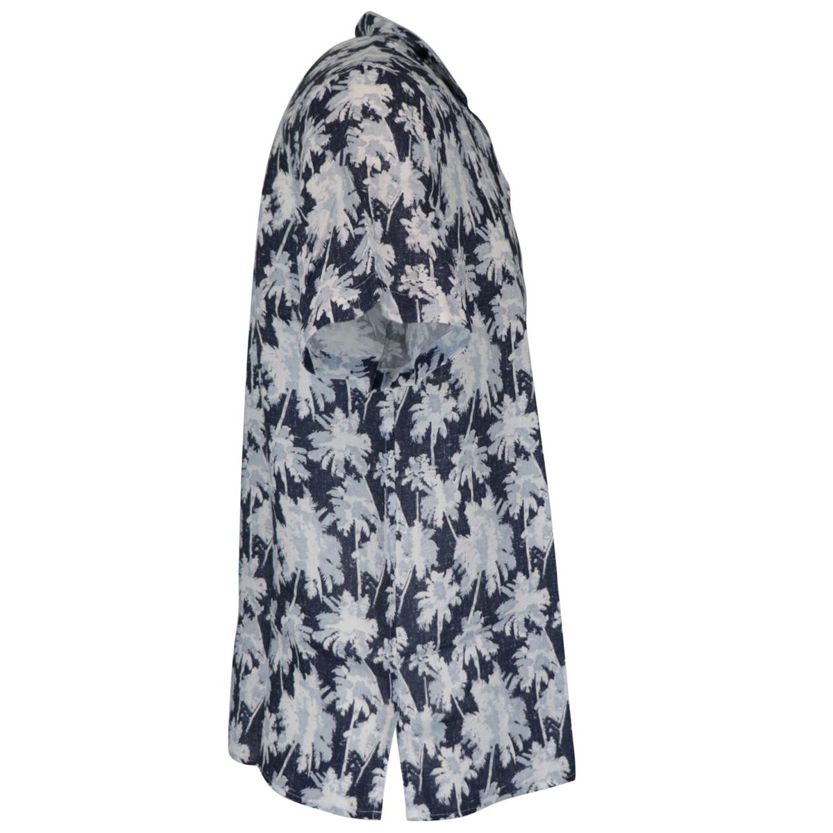Linen shirt with floral print Navy Altea