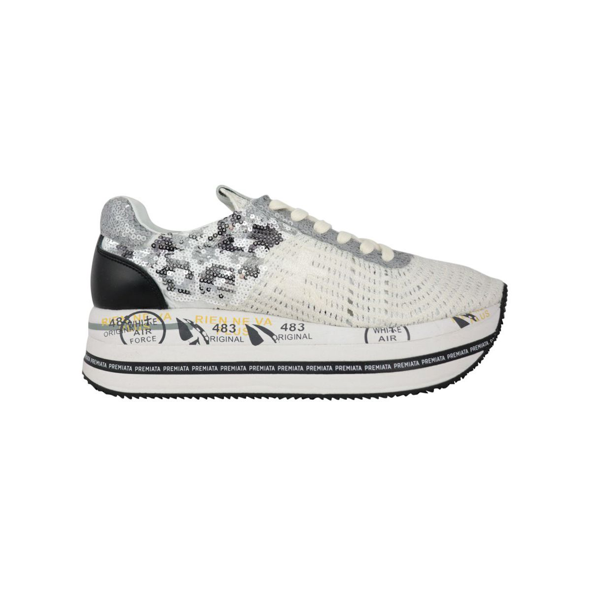 Beth sneakers in leather with sequins 3842 White Premiata