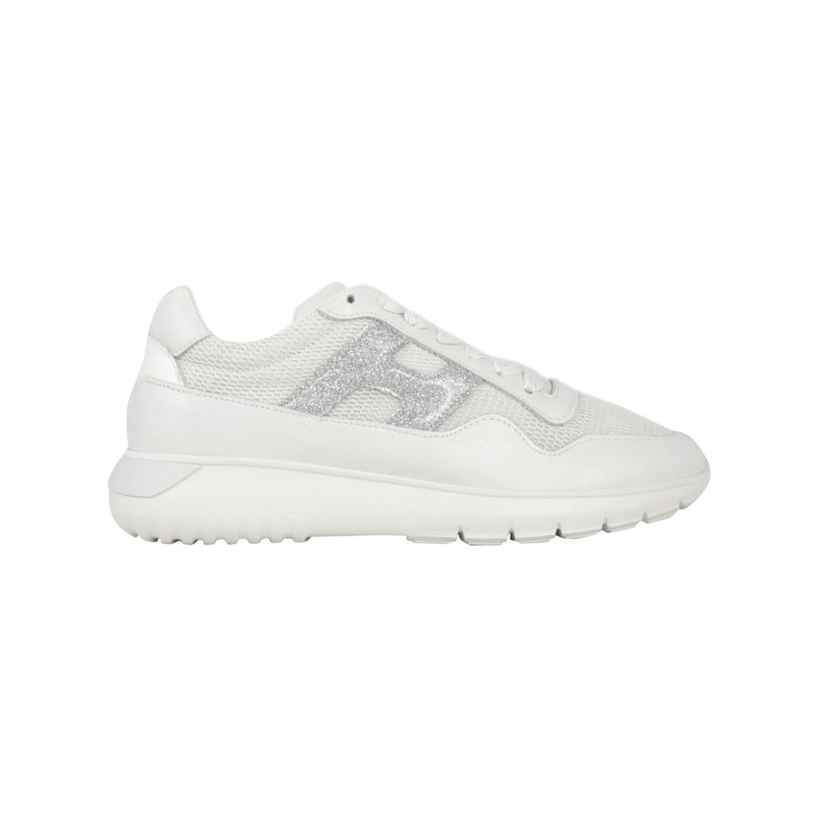 Interactive3 sneakers in leather with H glitter White Hogan