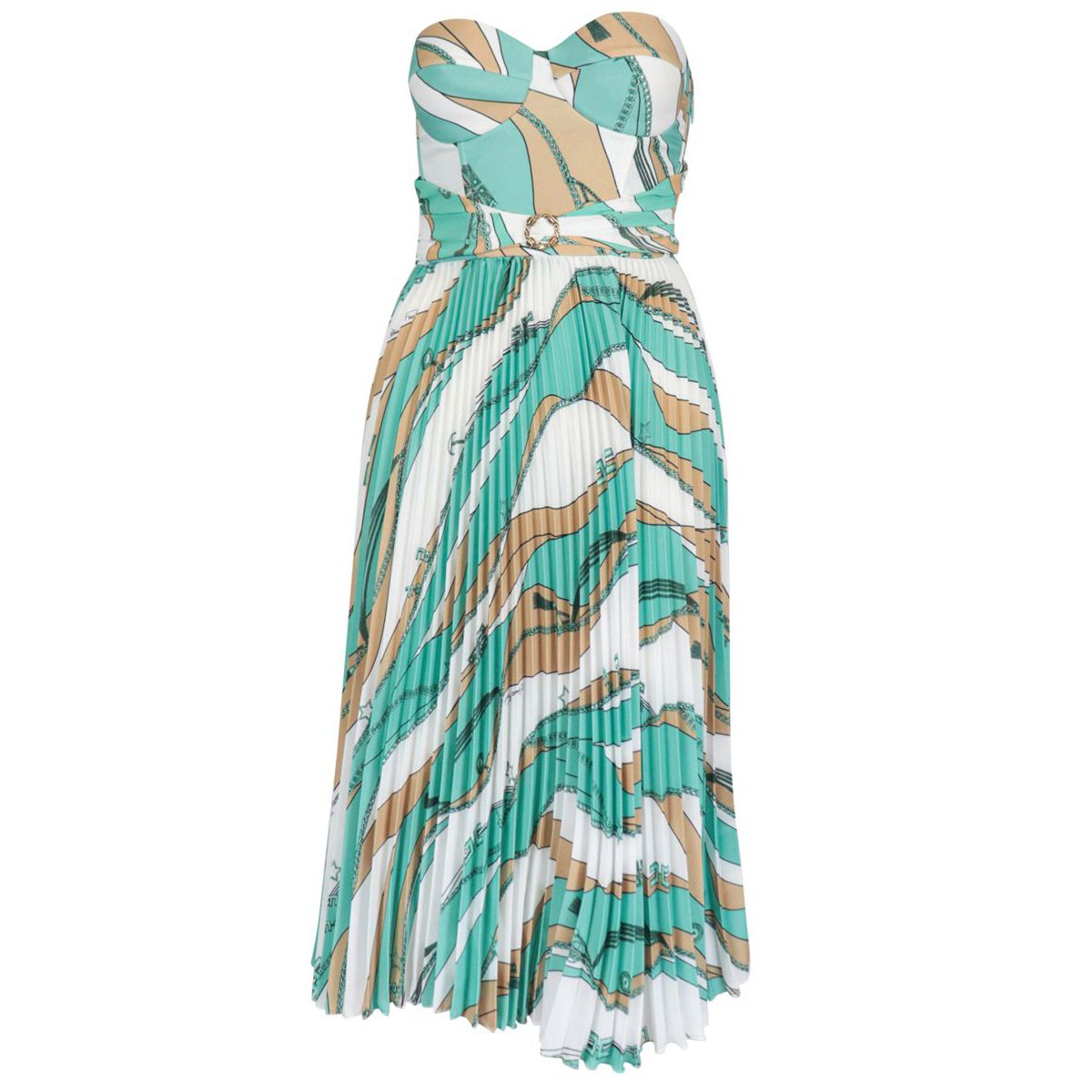 Pleated crepe dress with foulard print Verdeacqua / camm Elisabetta Franchi