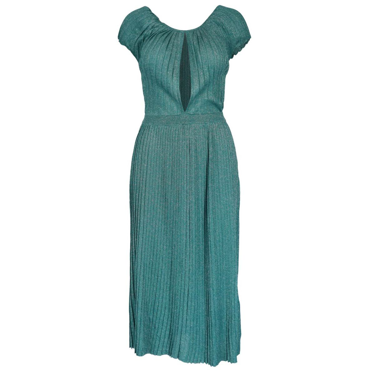 Pleated viscose knee-length dress Teal Elisabetta Franchi