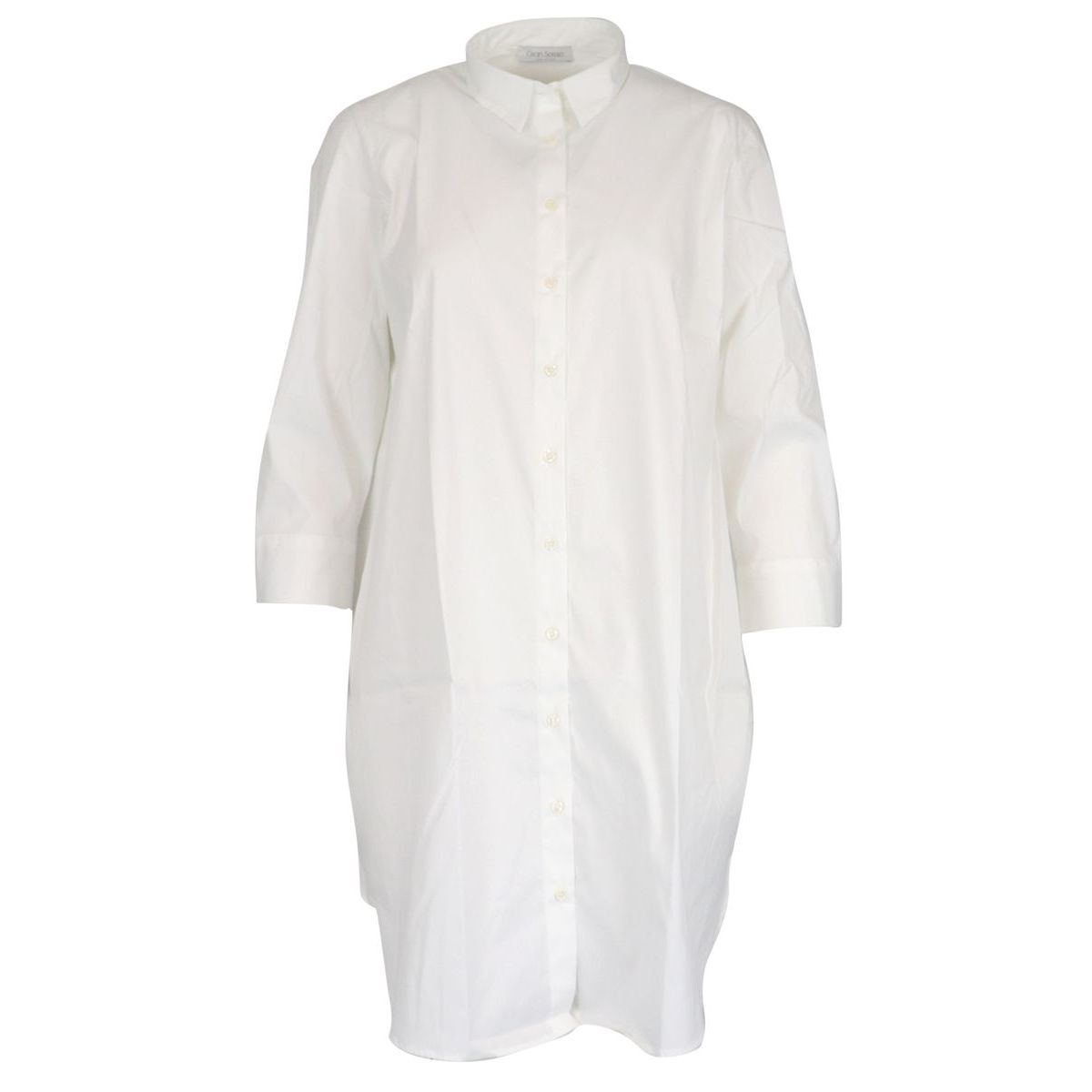 Maxi shirt in stretch cotton with three-quarter sleeves White Gran Sasso
