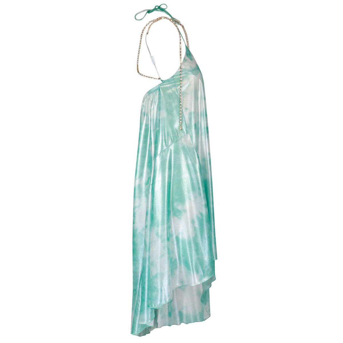 Dress in shiny fabric printed with jewel suspenders Green water Patrizia Pepe