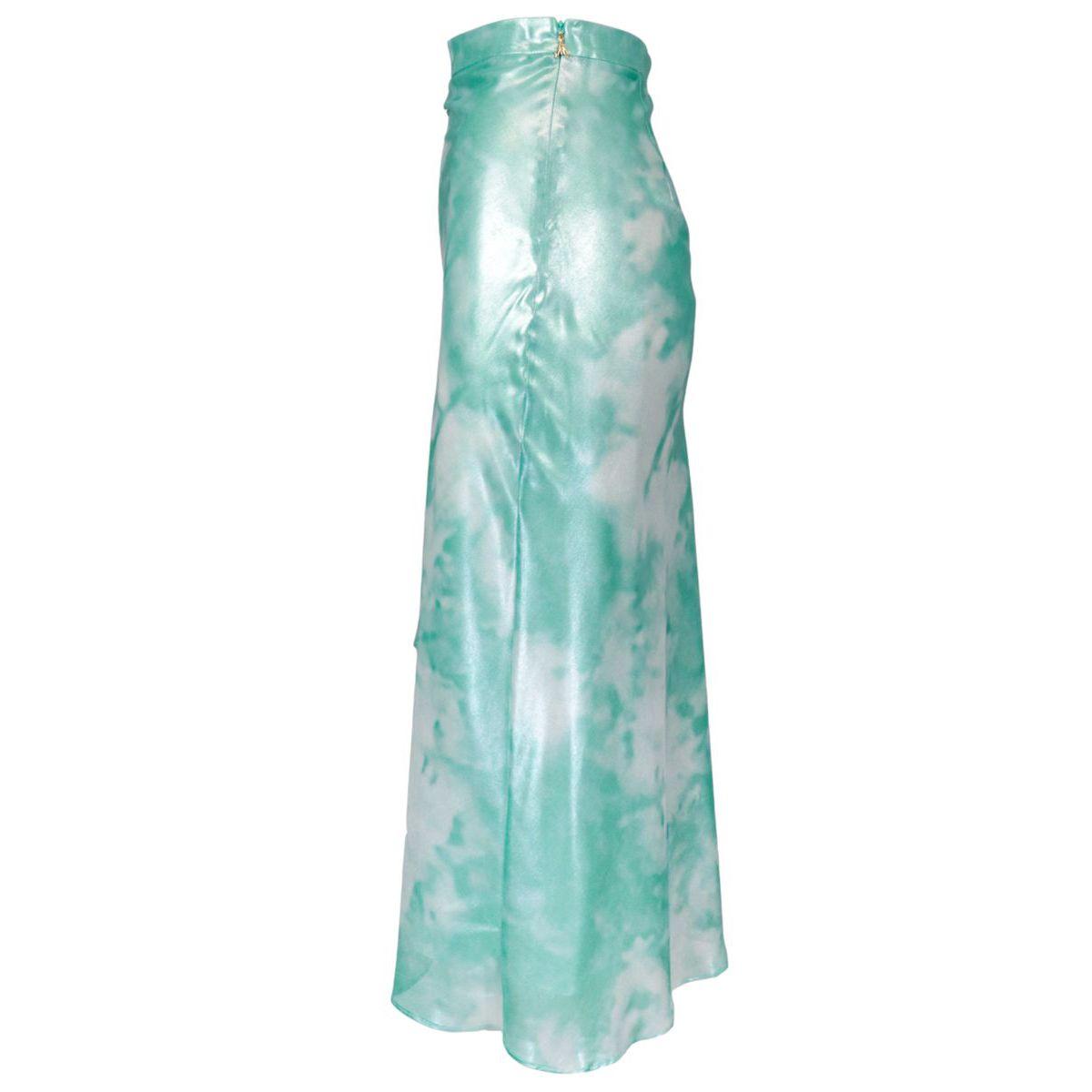 Glossy printed skirt with asymmetrical hem Green water Patrizia Pepe