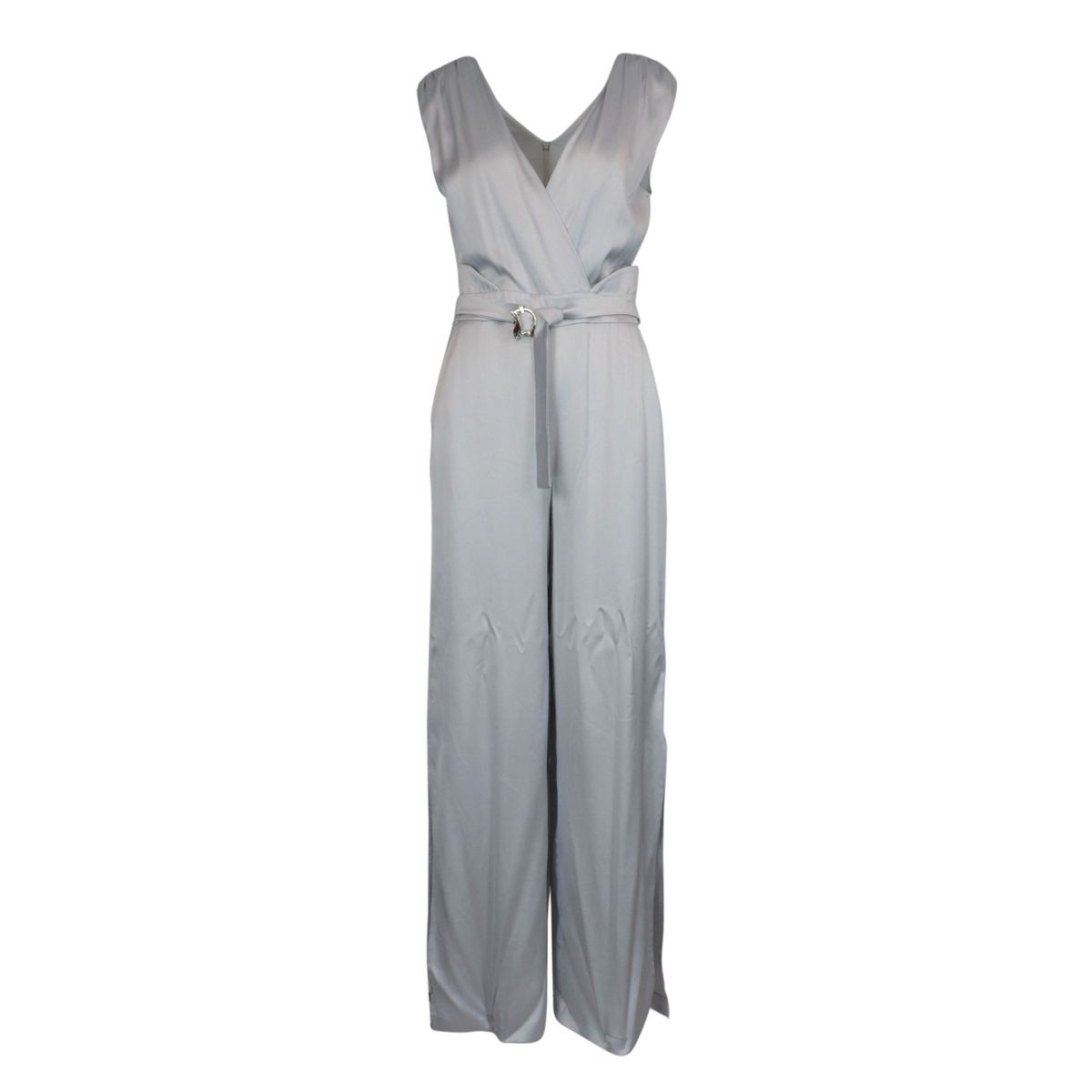 Viscose jumpsuit with V-neck and sash belt Shiny gray Patrizia Pepe