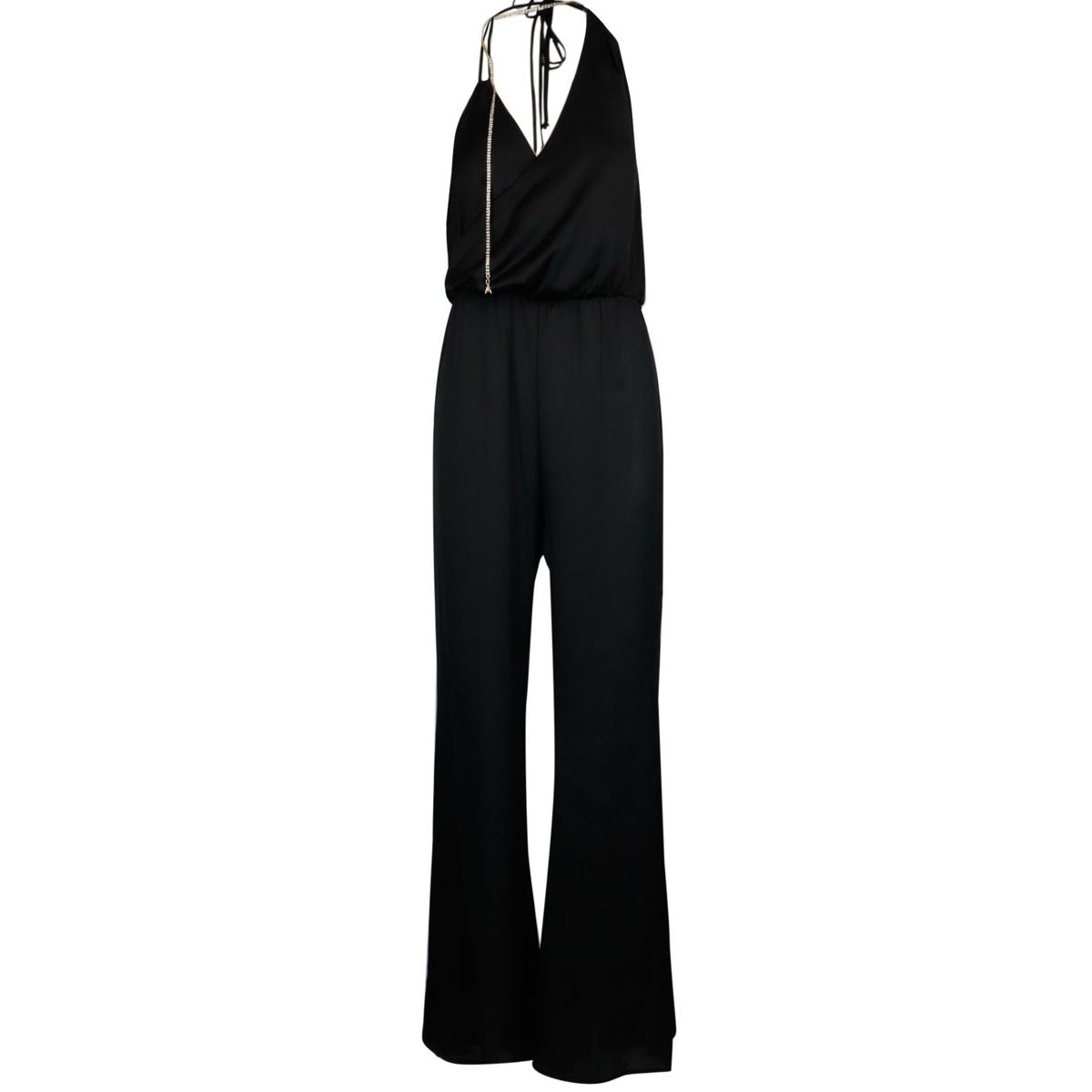 Long satin jumpsuit with rhinestones and asymmetrical V neckline Black Patrizia Pepe