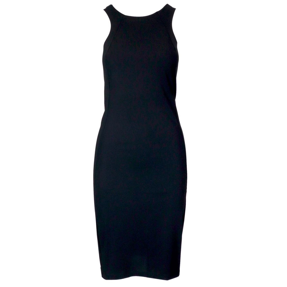 Sheath dress in technical fabric with round neckline Black Patrizia Pepe