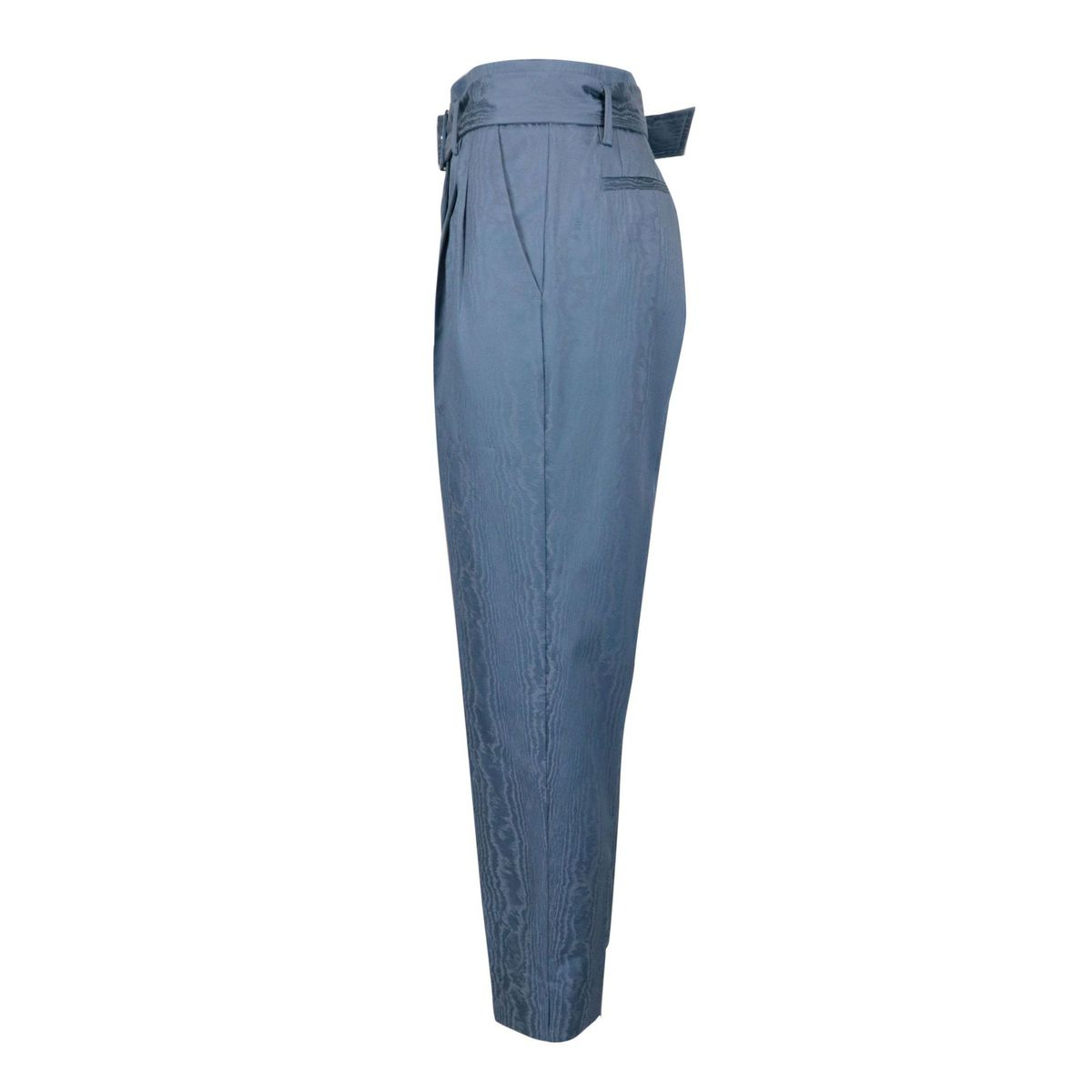 Moirè trousers with straight bottom in stretch cotton. Peacock Maliparmi
