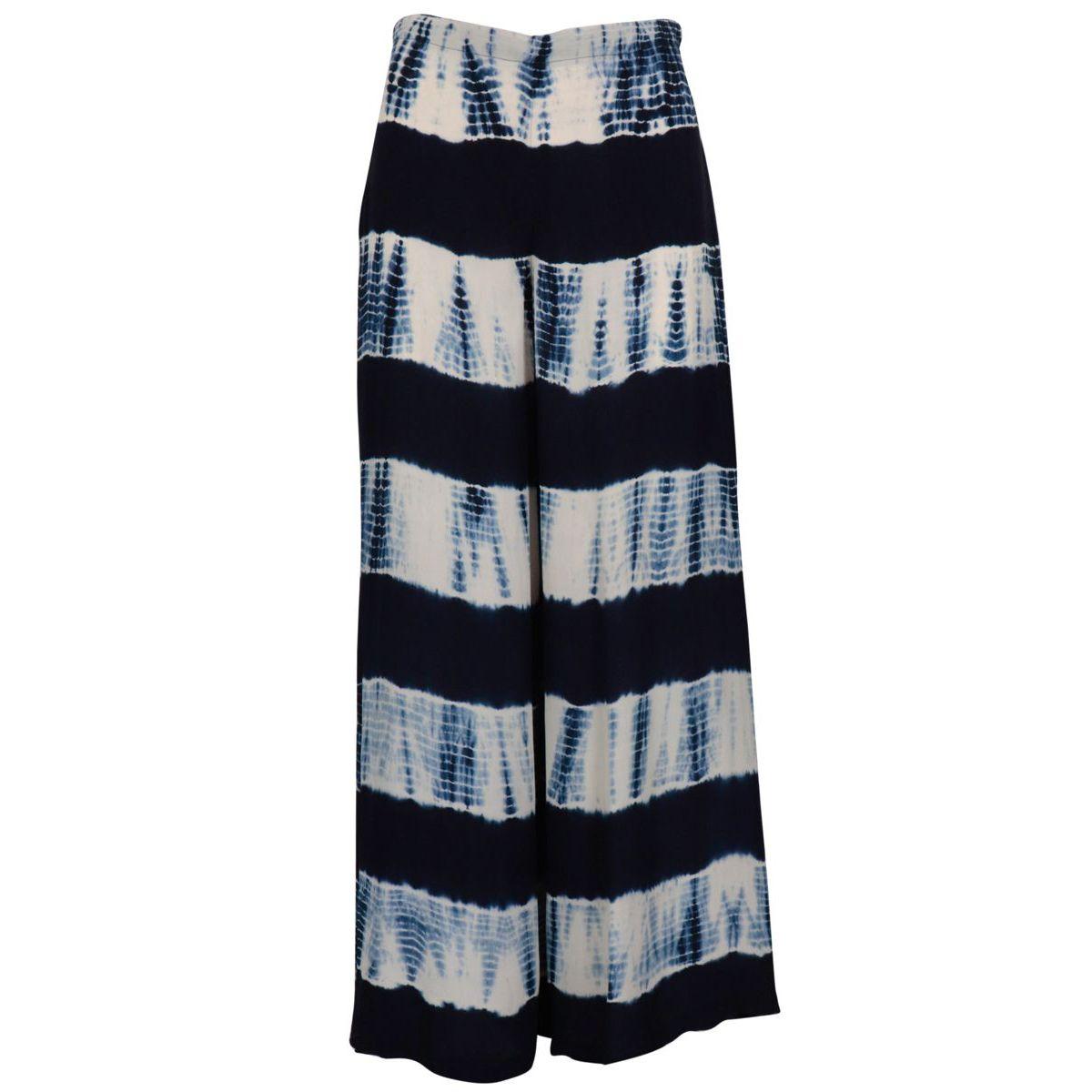 Wide trousers in viscose Tie & Dye Blue / white Maliparmi