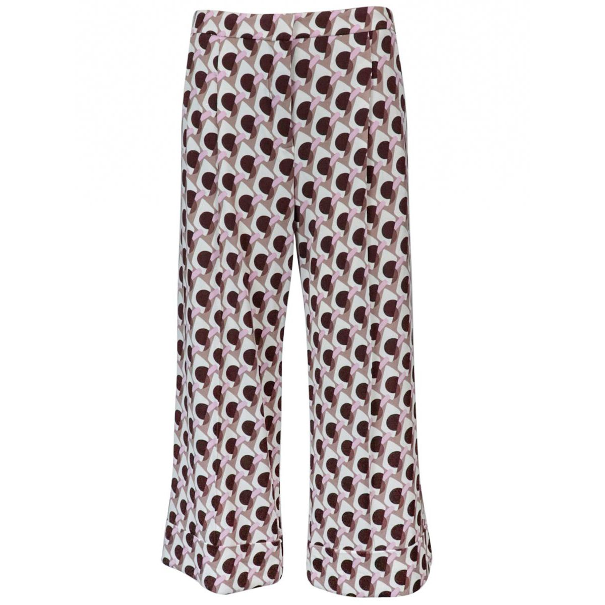 Ice Cream cropped trousers in patterned jersey Pink / brown Maliparmi