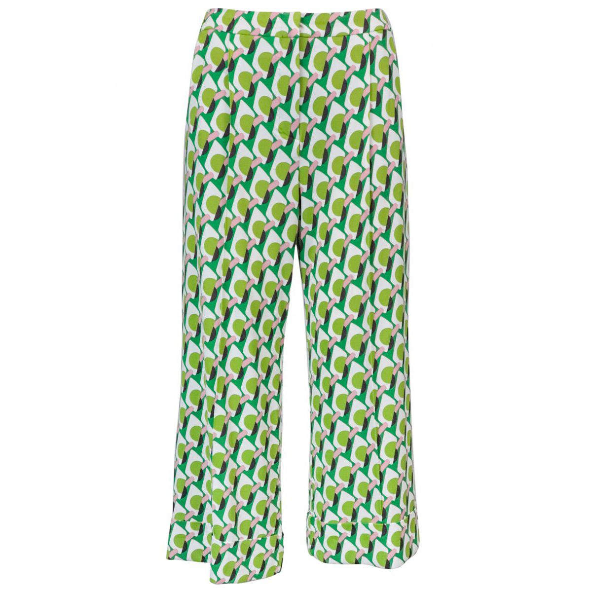 Ice Cream cropped trousers in patterned jersey Green / white Maliparmi