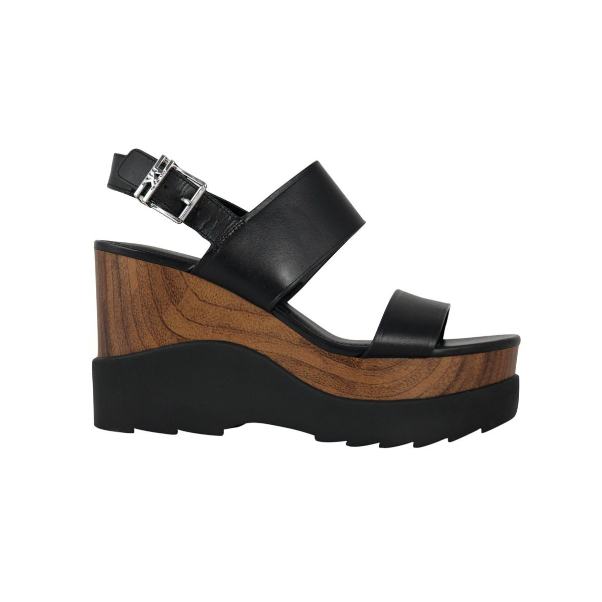 Leather sandal with double bands and wedge Black Michael Kors