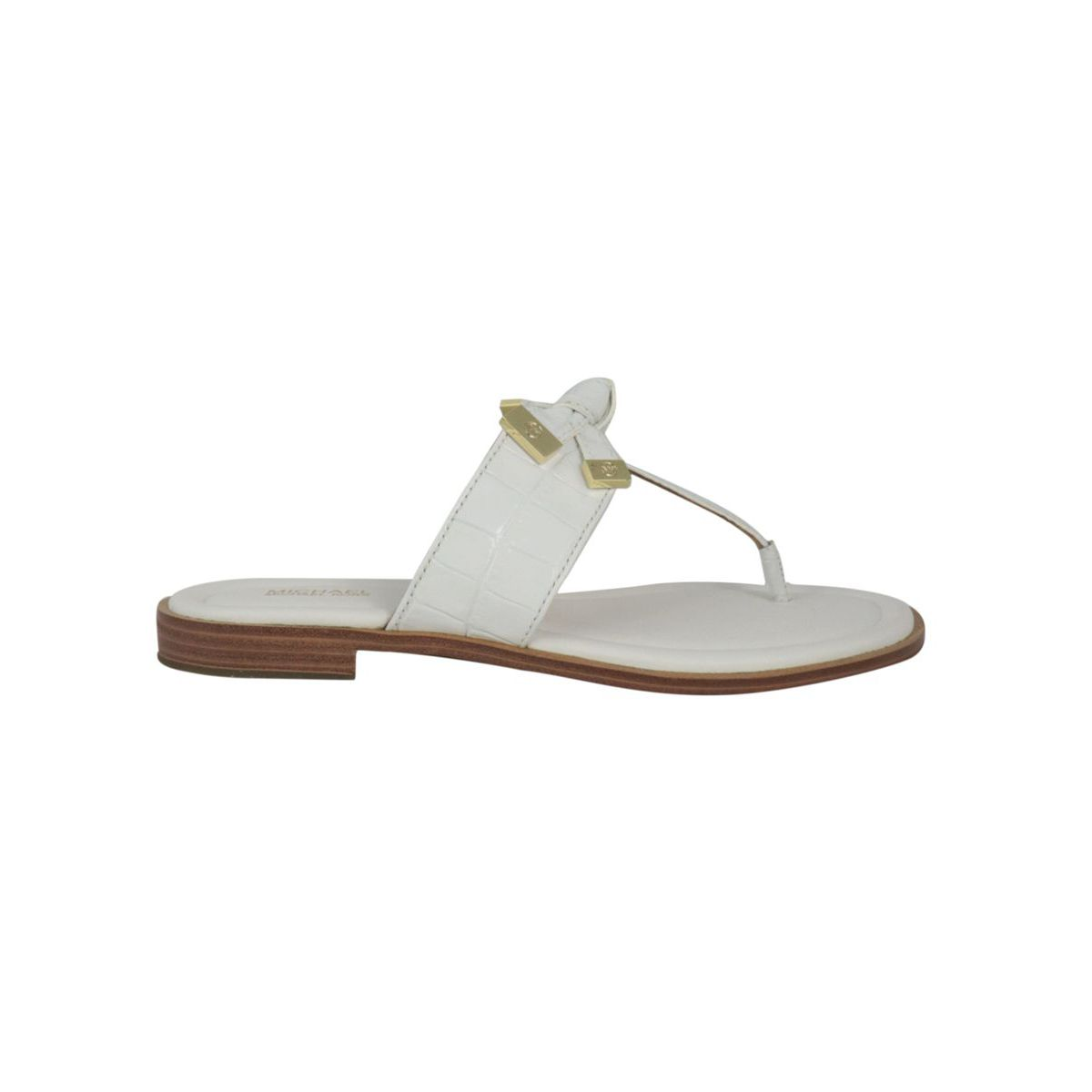 Leather thong sandal with metallic finishes Optical white Michael Kors