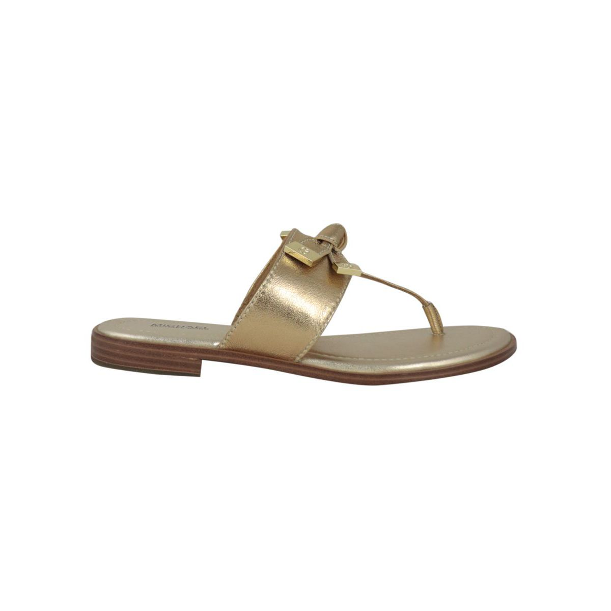 Flip flop sandal in laminated leather with bow Gold Michael Kors