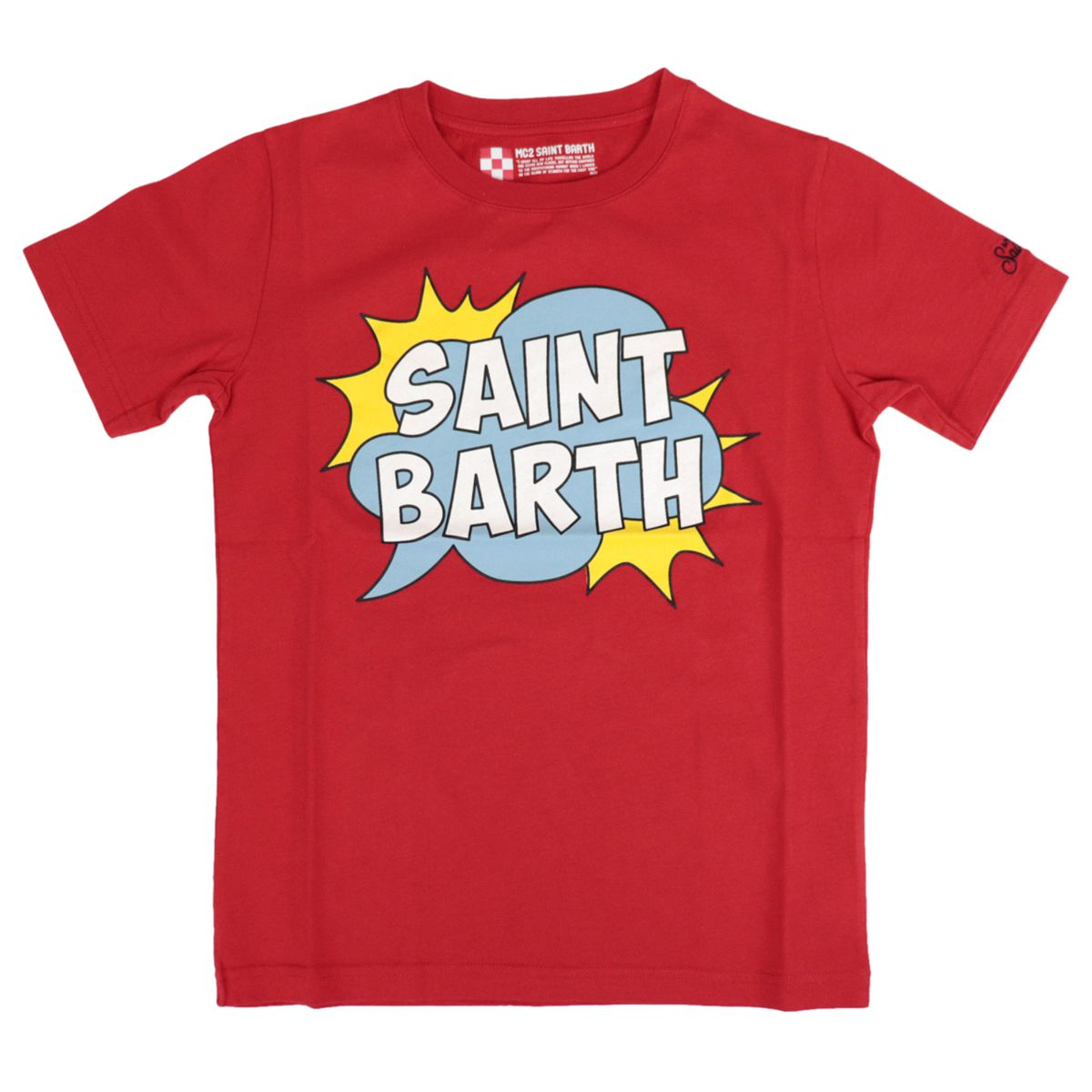 Cotton T-shirt with contrasting front logo print Red MC2 Saint Barth