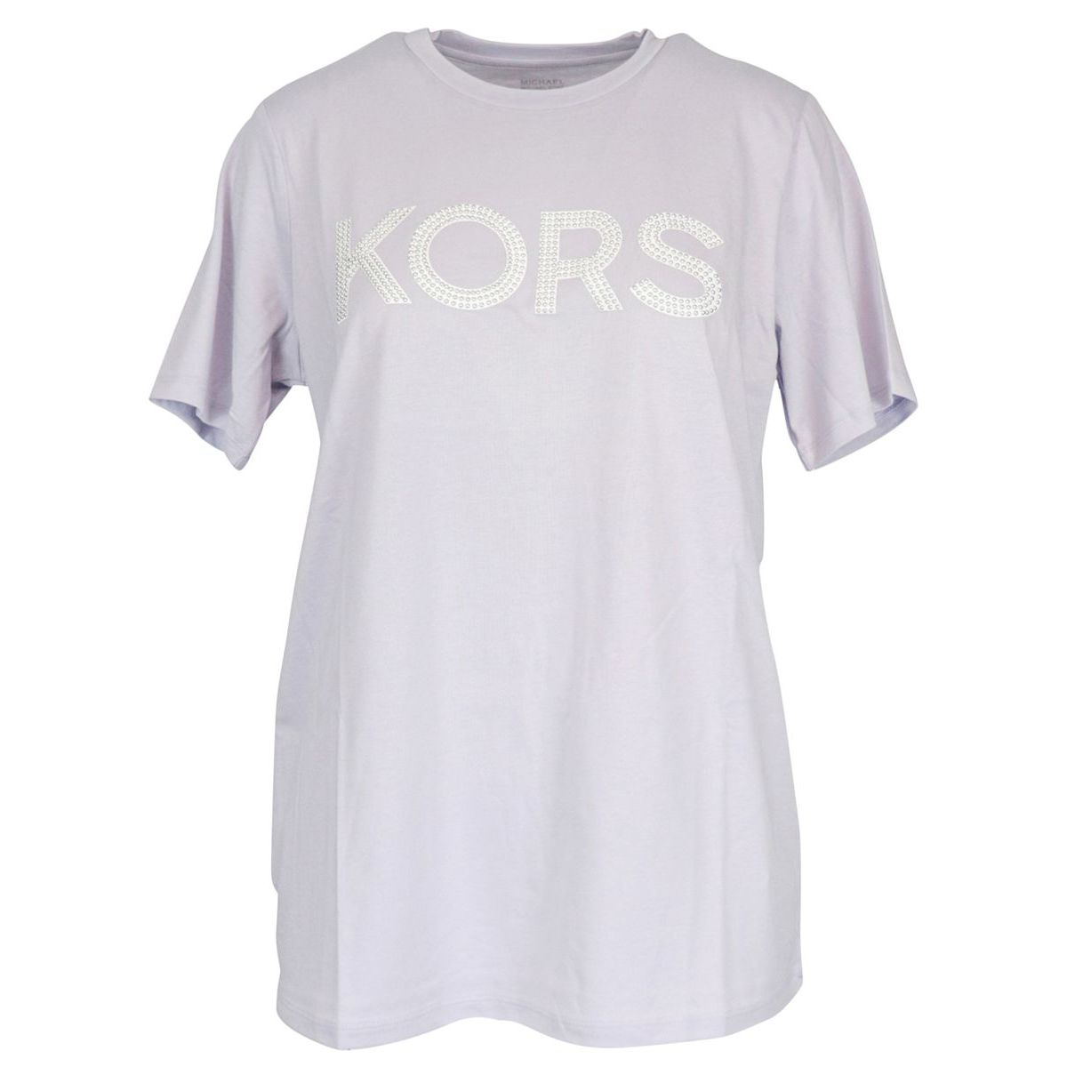Cotton jersey T-shirt with logo and studs Lavender Michael Kors