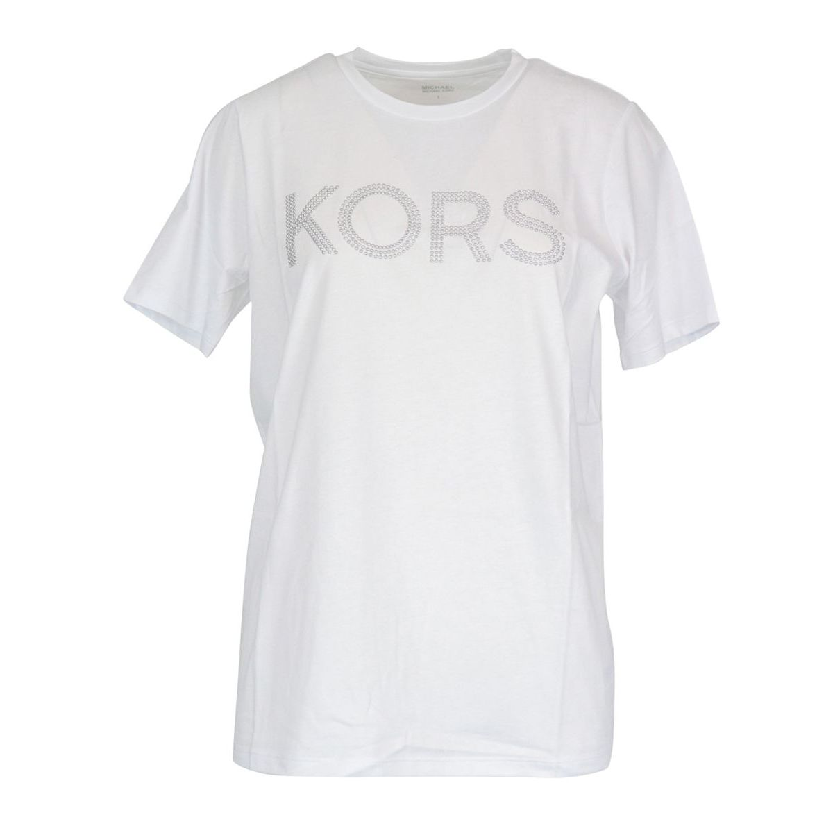 Cotton jersey T-shirt with logo and studs White Michael Kors