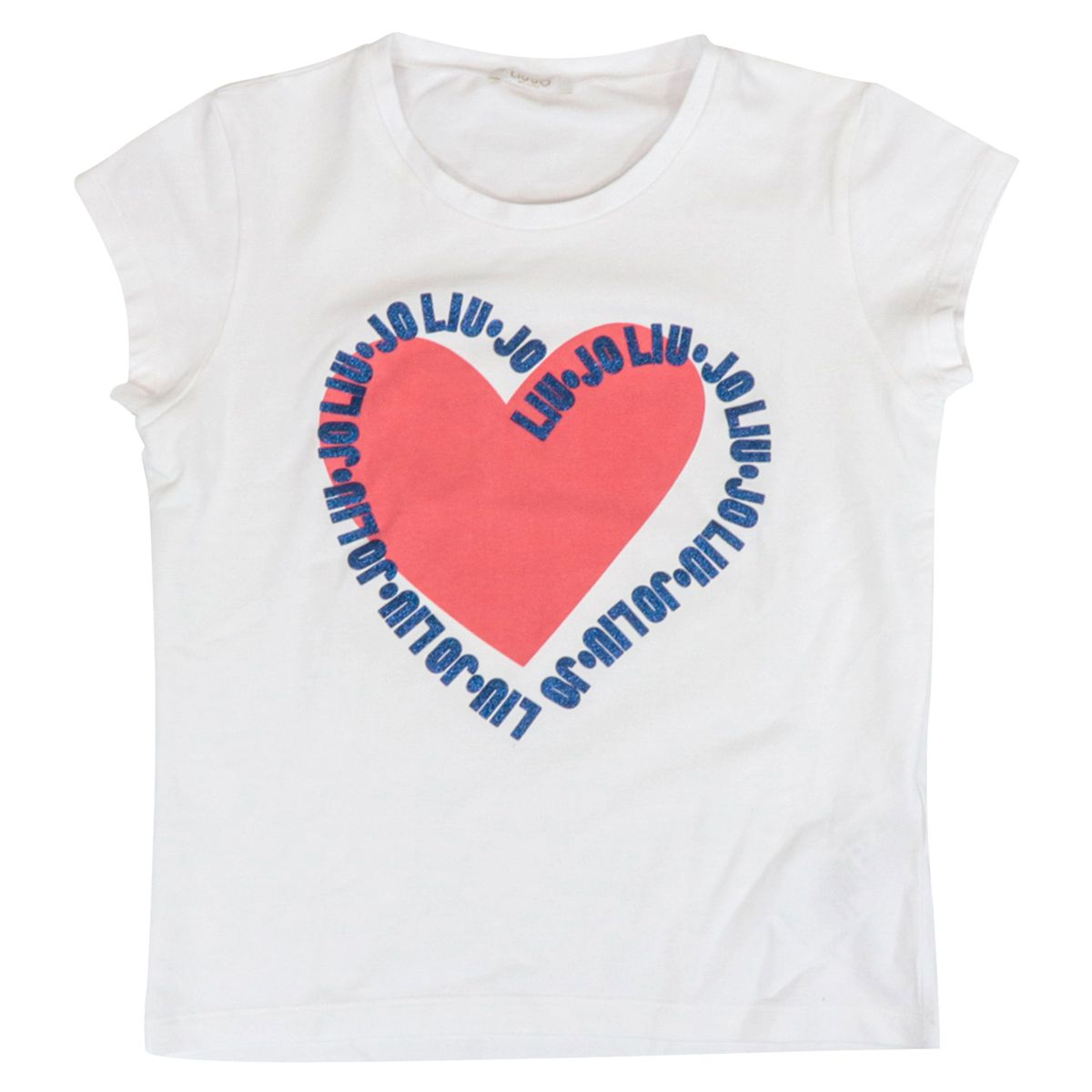 Cotton jersey T-shirt with heart print and glitter logo. White Liu Jo