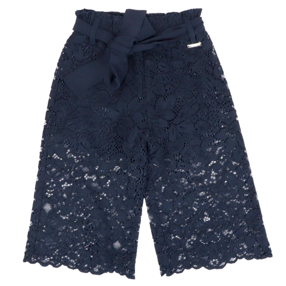 Cropped trousers in cotton blend with lace effect Blue Liu Jo