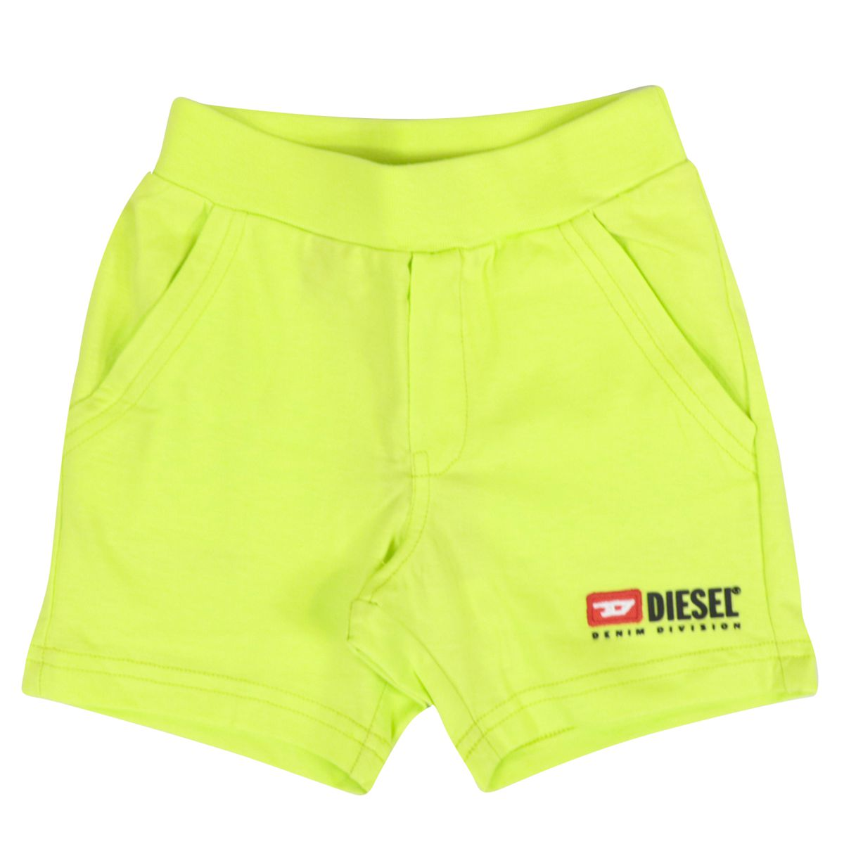 Cotton bermuda with applied logo Fluo yellow Diesel