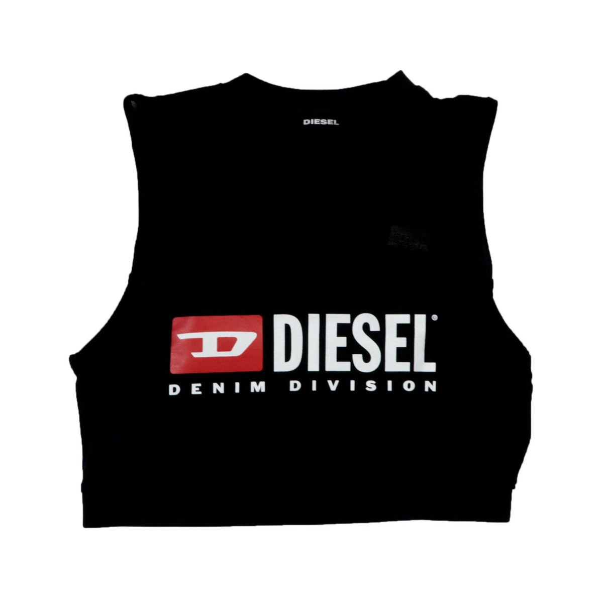 Short cotton top with contrasting logo print Black Diesel