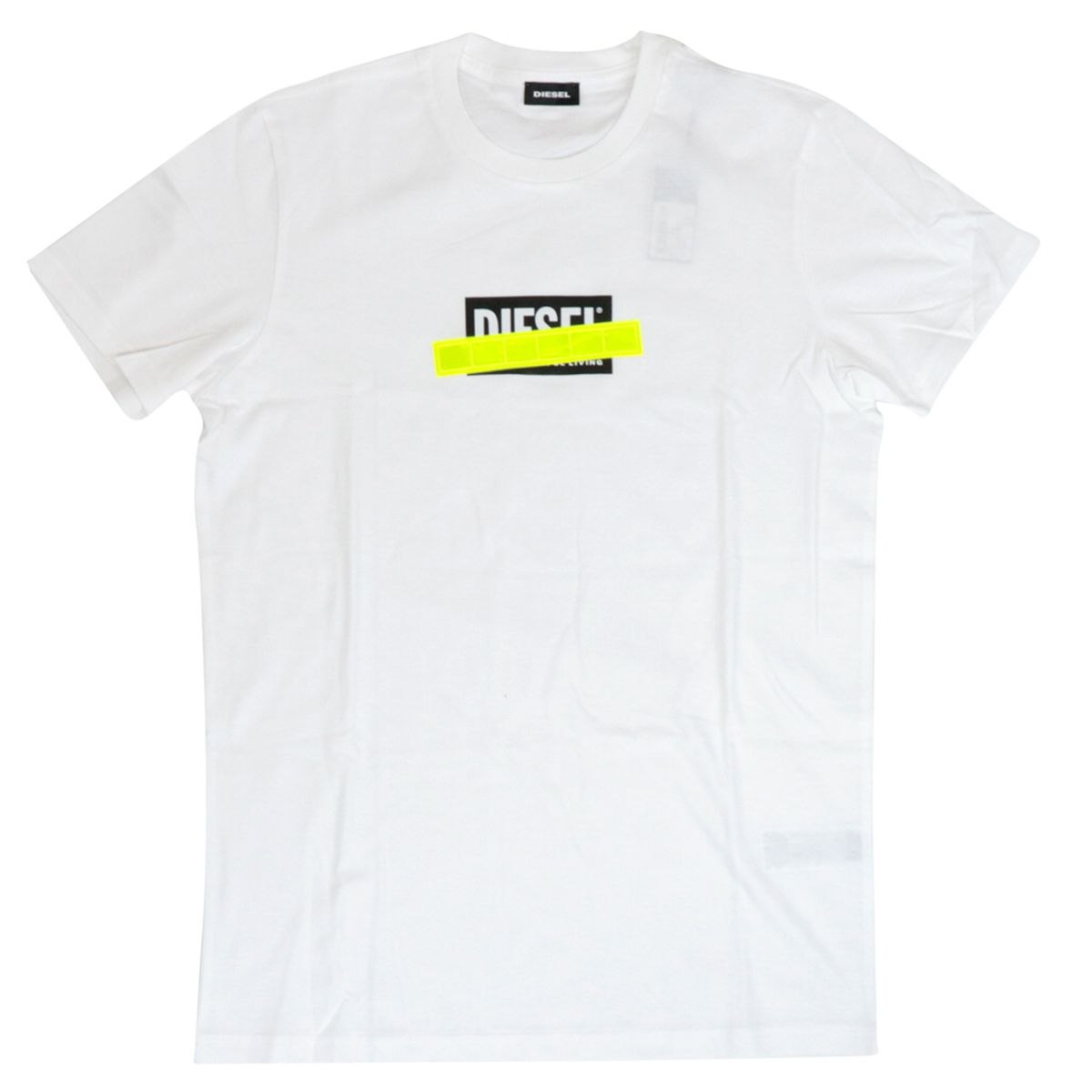 Cotton t-shirt with logo print and fluorescent patch White Diesel