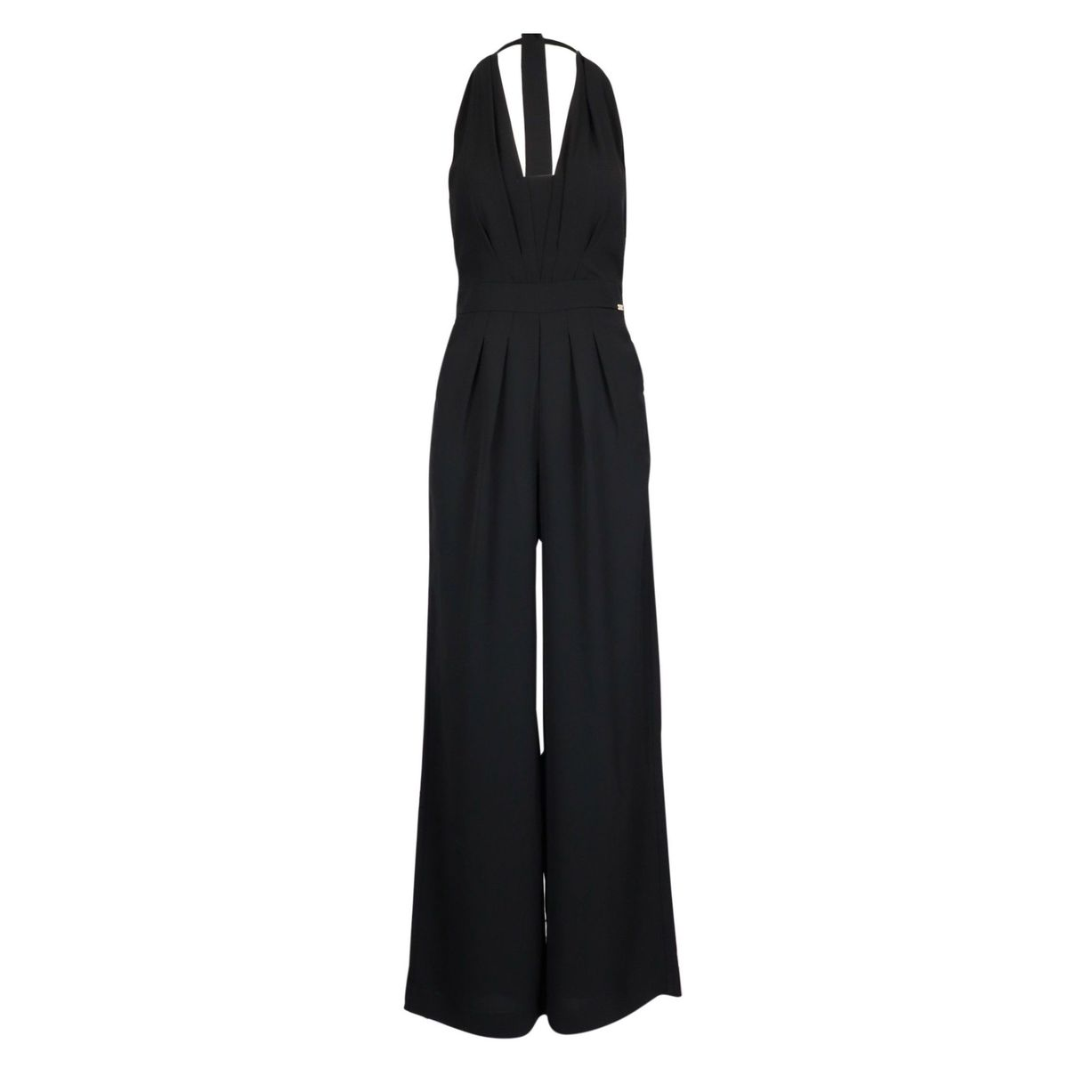 Crepe jumpsuit with V-neck and wide trousers Black Nenette