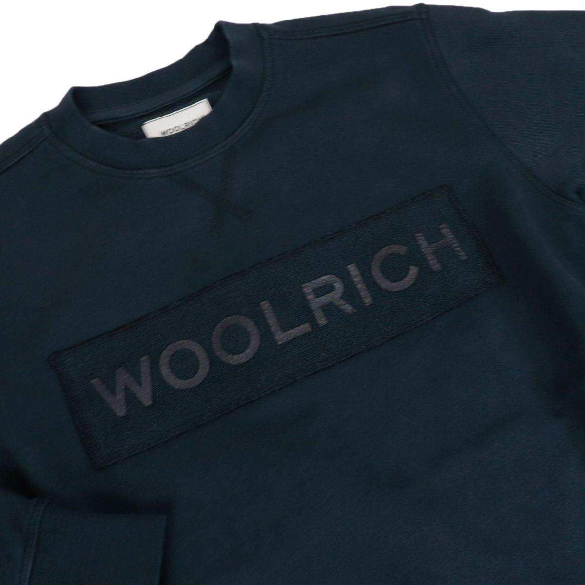 Cotton sweatshirt with front logo print Blue Woolrich