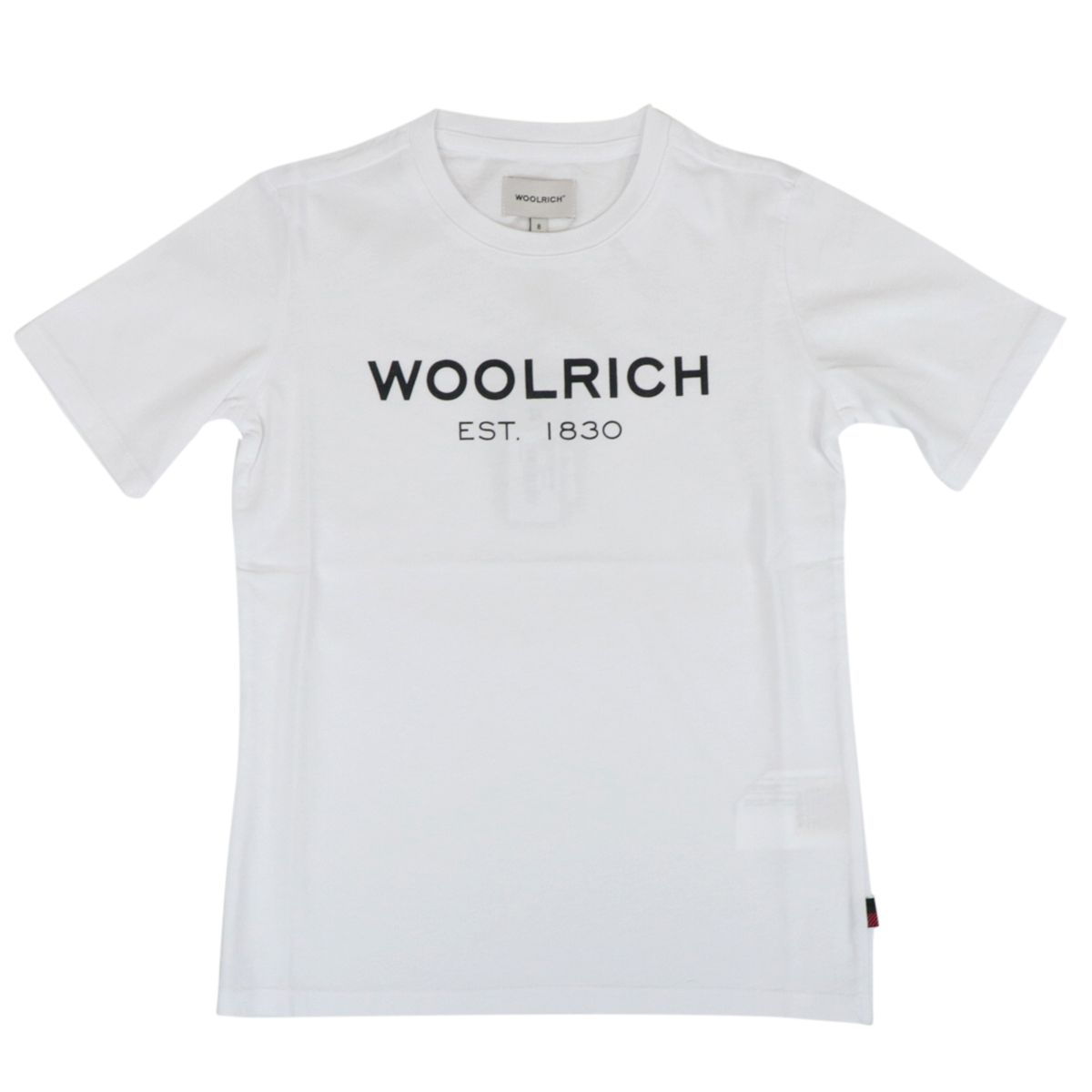 Crew neck cotton T-shirt with contrasting logo print White Woolrich