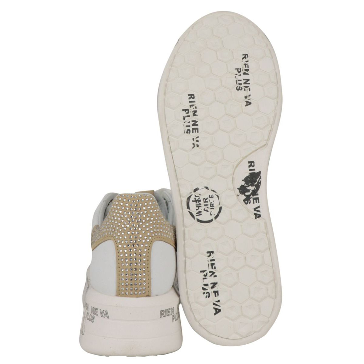 Belle leather sneakers with rhinestones on the back 4540 Optical white Premiata