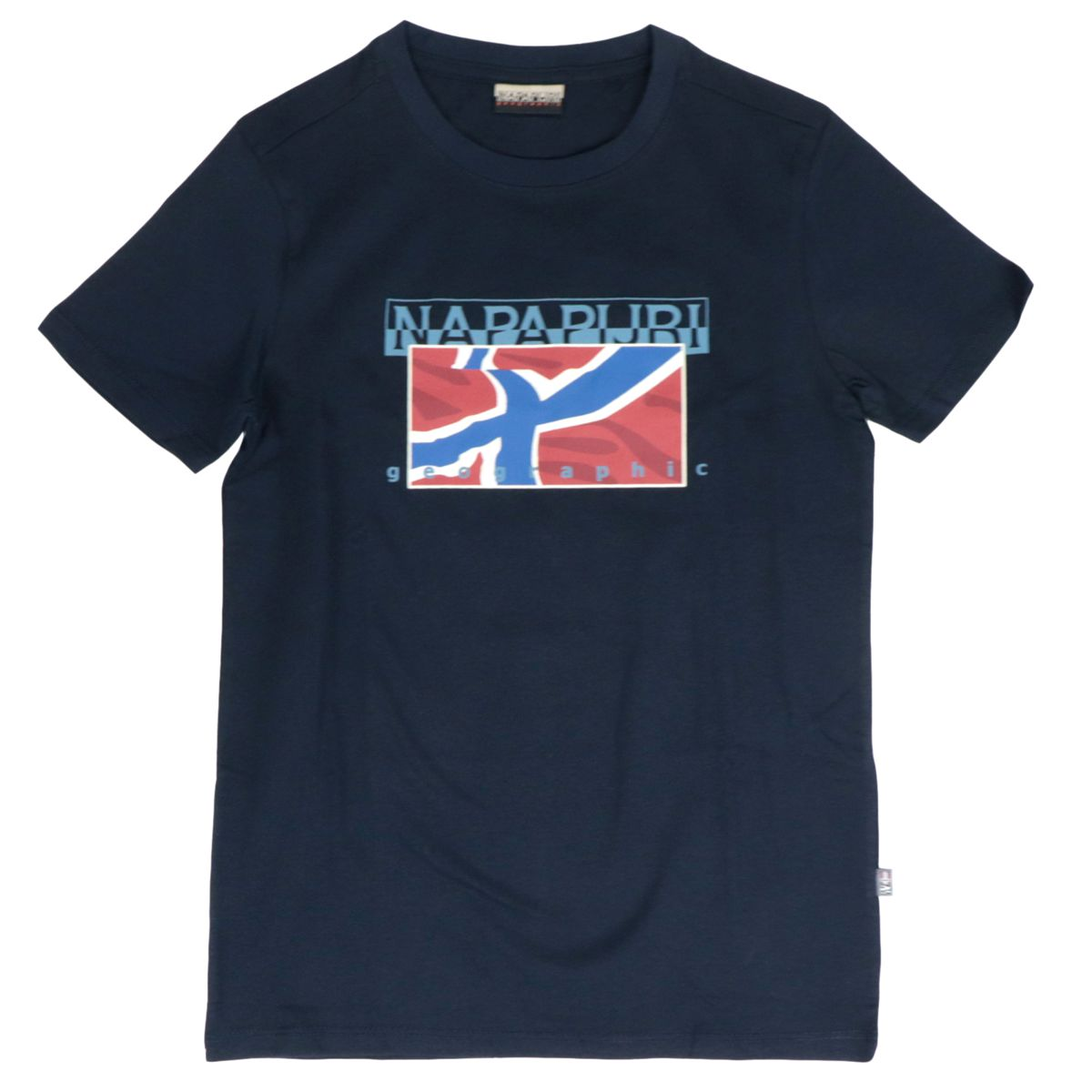 Sallin cotton T-shirt with front print Blue NAPAPIJRI