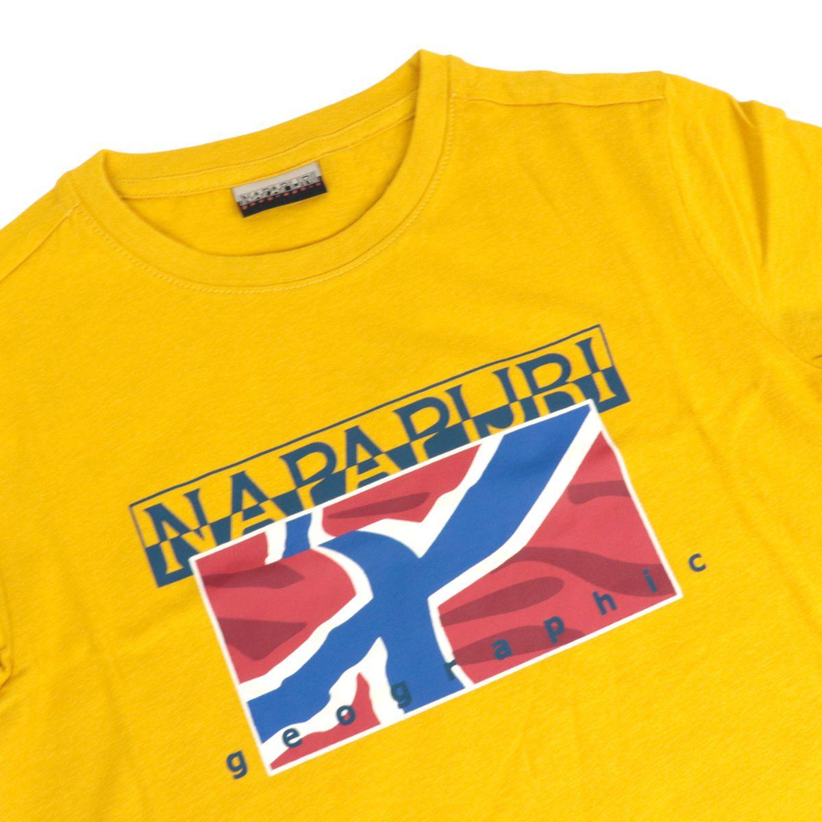T-shirt Sallin in cotone con stampa frontale Senape NAPAPIJRI