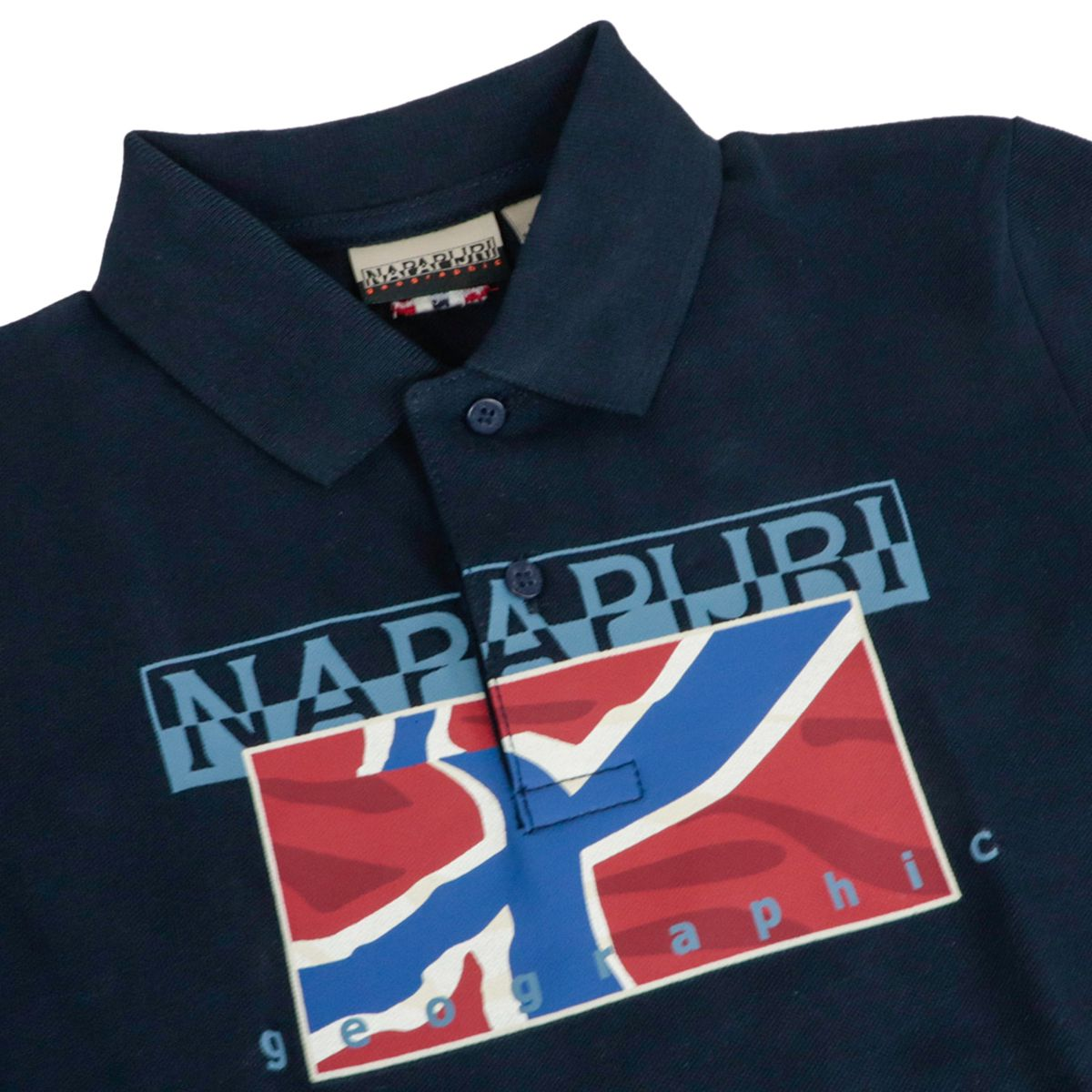 Cotton polo shirt with logo print Blue NAPAPIJRI