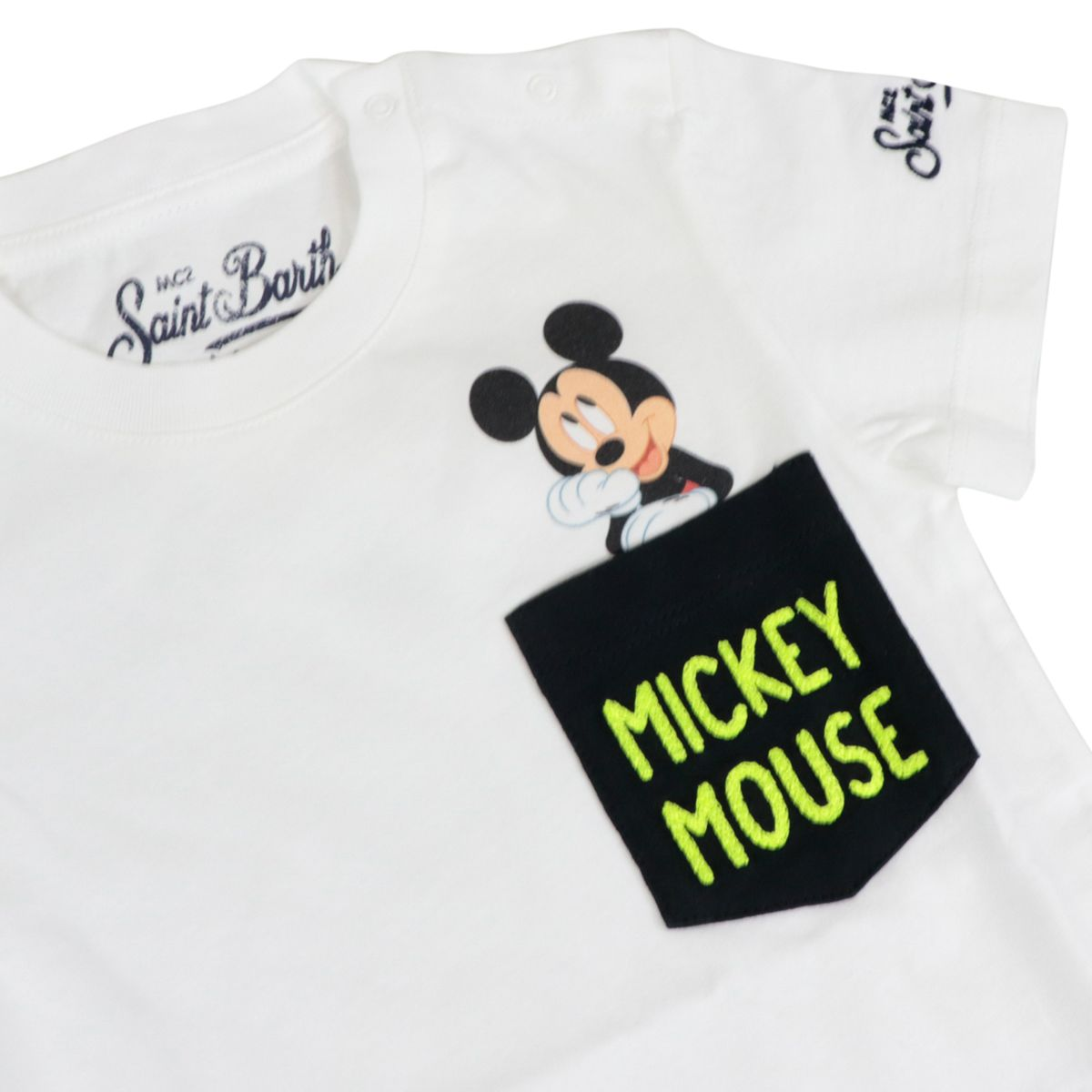 Cotton T-shirt with Mickey Mouse print and breast pocket White MC2 Saint Barth