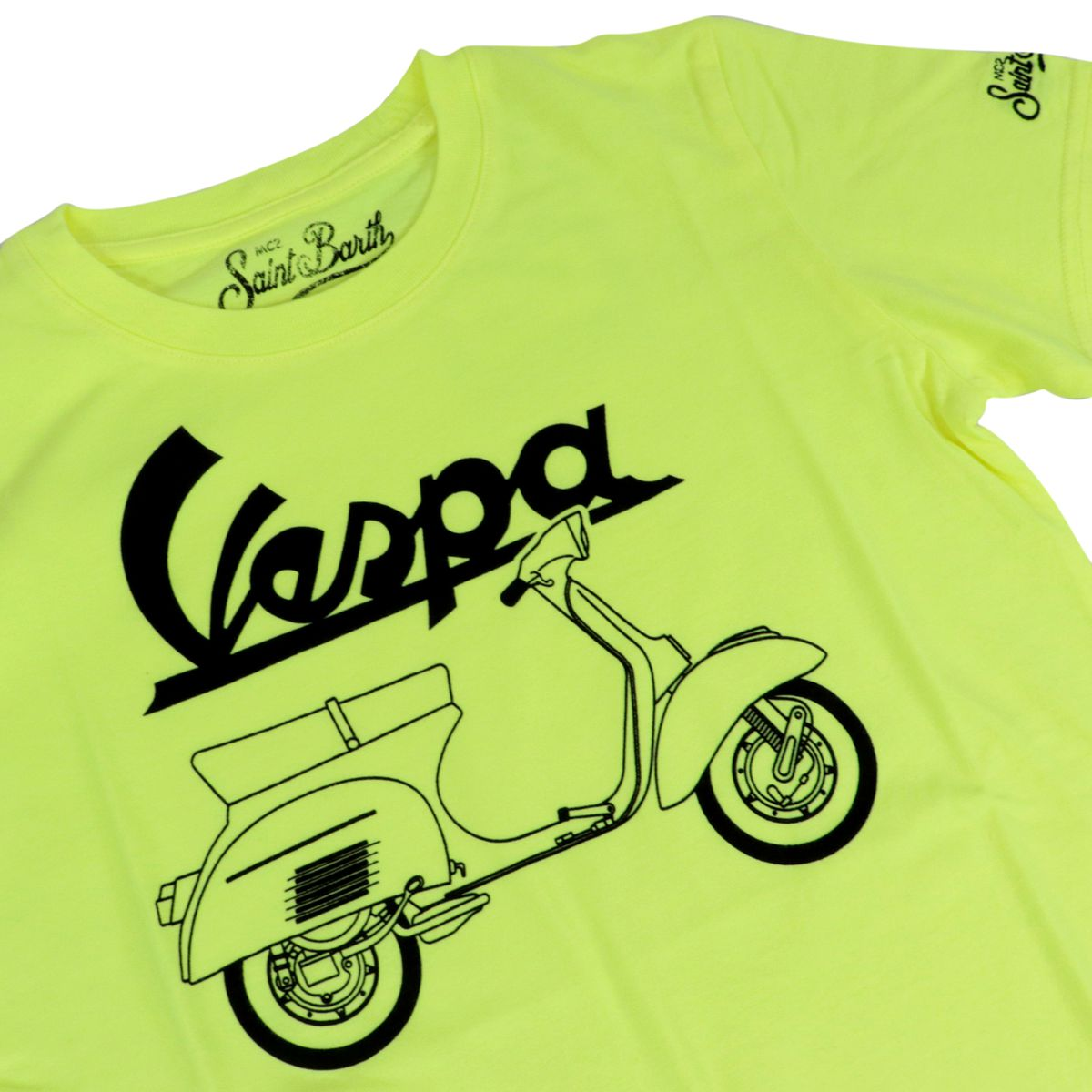 Vespa Outline printed cotton t-shirt Fluo yellow MC2 Saint Barth